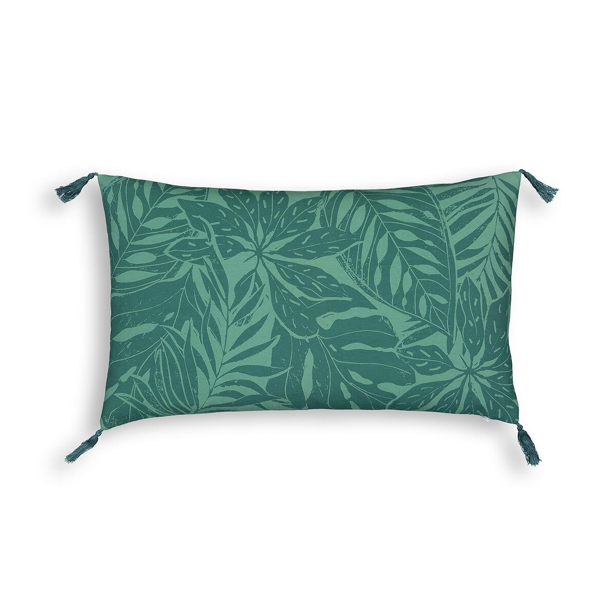 Фото - Чехол LaRedoute Для подушки из осветленного хлопка Ficus 50 x 30 см зеленый пододеяльник laredoute из осветленного хлопка babette 260 x 240 см зеленый
