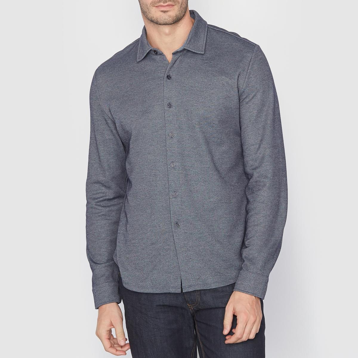 Рубашка из трикотажа. Длинные рукаваТрикотаж 70% хлопка, 30% полиэстера . Узкий покрой (облегающий) . Свободные уголки воротника  . Длинные рукава . Длина 73 см .<br><br>Цвет: темно-синий/белый