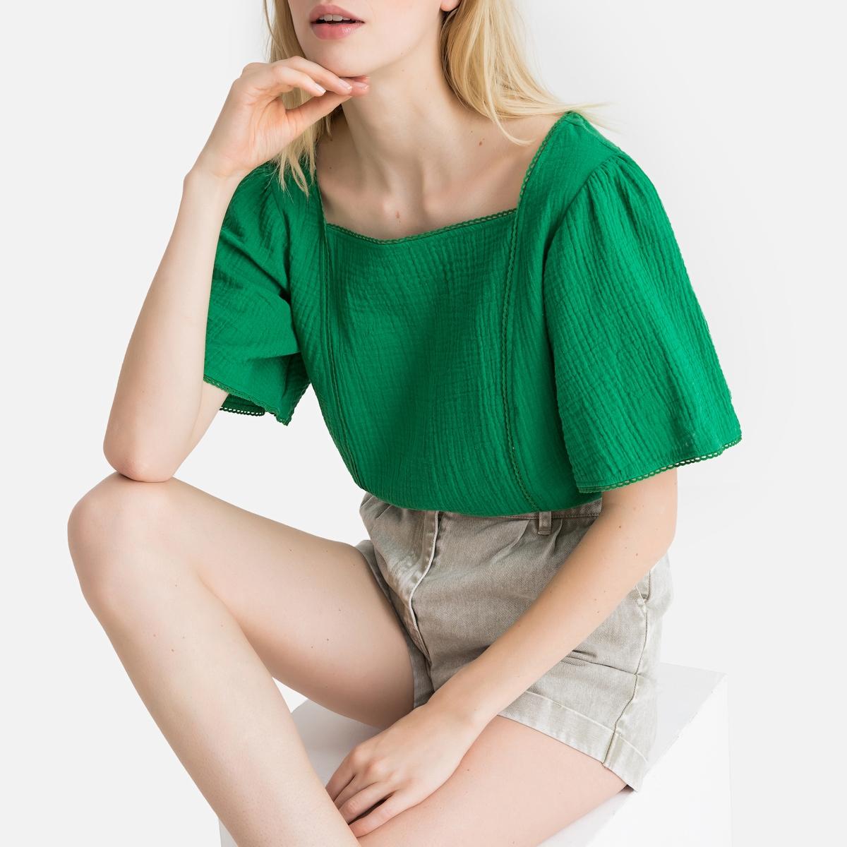 Блузка LaRedoute С короткими рукавами с воланами 34 (FR) - 40 (RUS) зеленый жакет laredoute короткий с рубашечным воротником 34 fr 40 rus зеленый