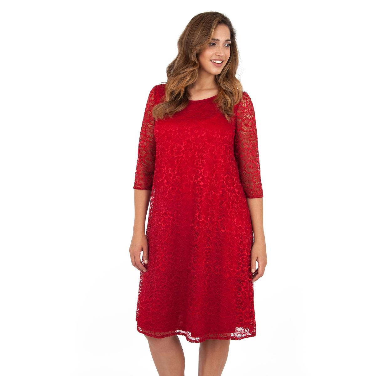 ПлатьеПлатье с рукавами 3/4 - LOVEDROBE. Красивое кружевное платье притягательного красного цвета с отделкой из прозрачного кружева на рукавах. Длина ок.104 см. 100% полиэстера.<br><br>Цвет: бордовый<br>Размер: 58/60 (FR) - 64/66 (RUS).48 (FR) - 54 (RUS)