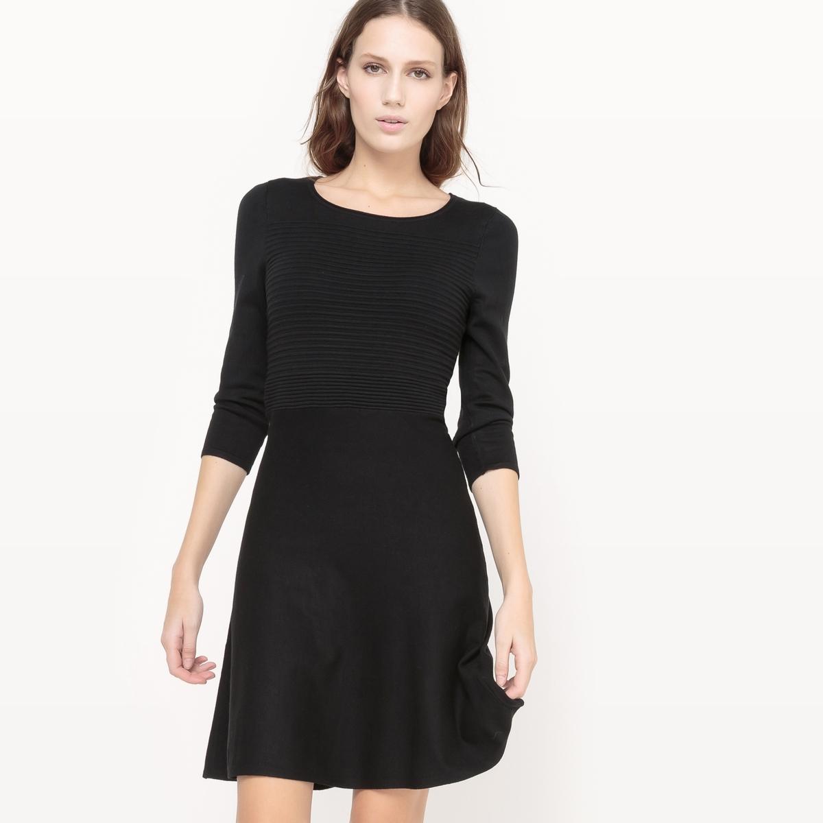 Платье трикотажноеПлатье TOM TAILOR  . Платье с круглым вырезом из трикотажа . Застежка на молнию сзади. Рисунок в горизонтальную полоску . Состав и описание :Материал : 70% вискозы, 30% полиамидаМарка : TOM TAILOR.<br><br>Цвет: черный