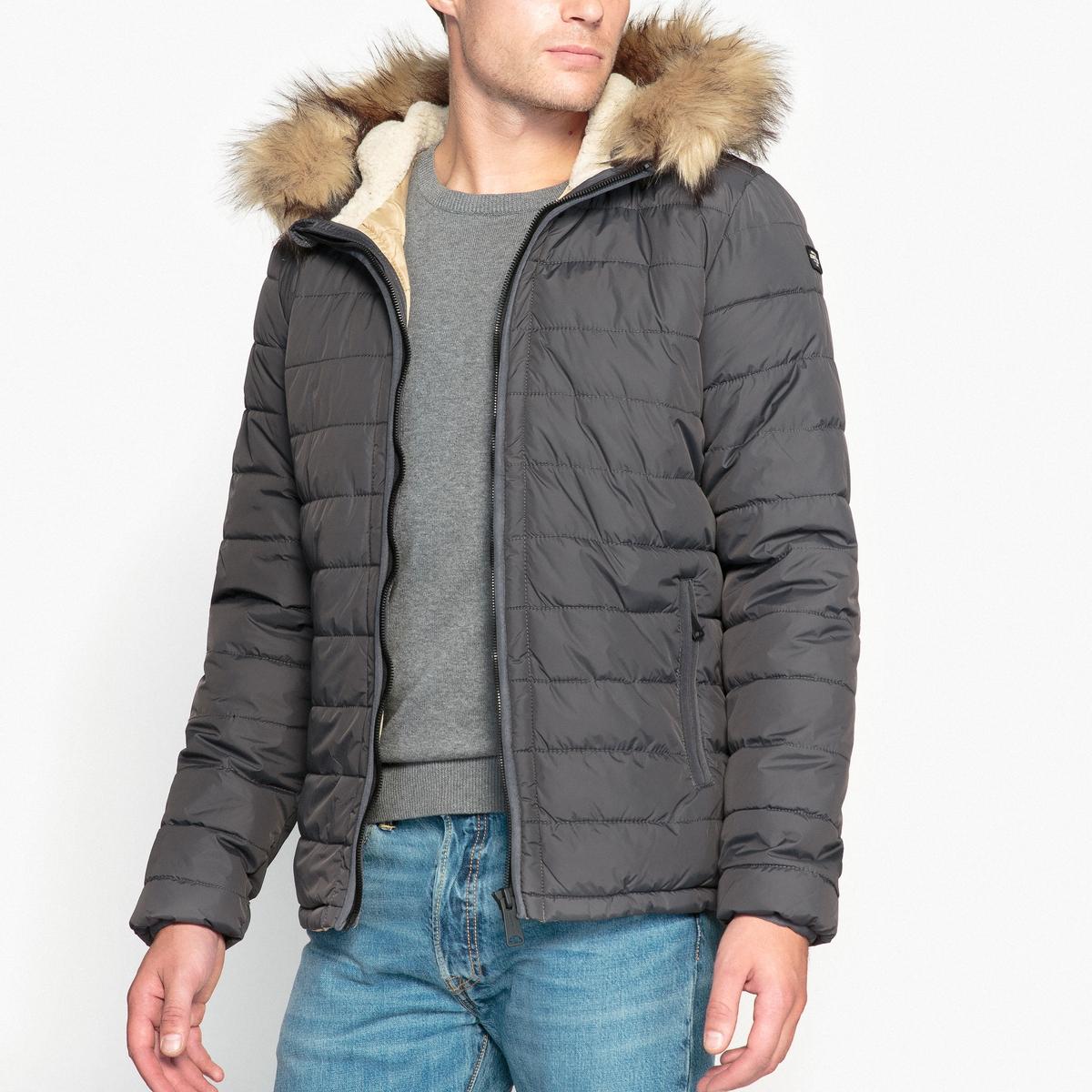 Куртка стеганая с капюшономОписание:Детали •  Длина : средняя •  Капюшон  •  Застежка на молнию •  С капюшоном Состав и уход •  100% полиамид  •  Следуйте советам по уходу, указанным на этикетке<br><br>Цвет: антрацит<br>Размер: L.XL.XXL