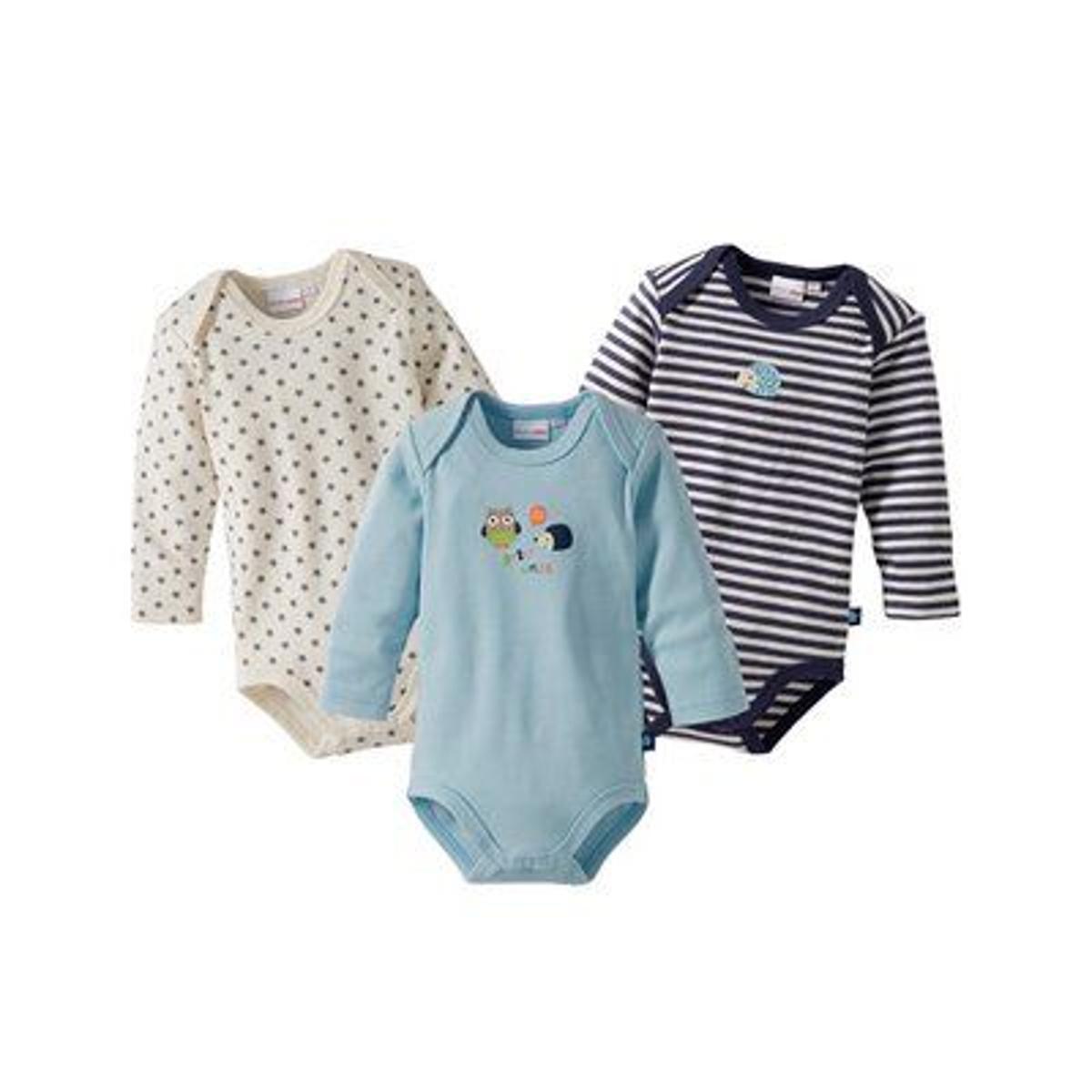 Bornino Lot de 3 bodys à manches longues bébé