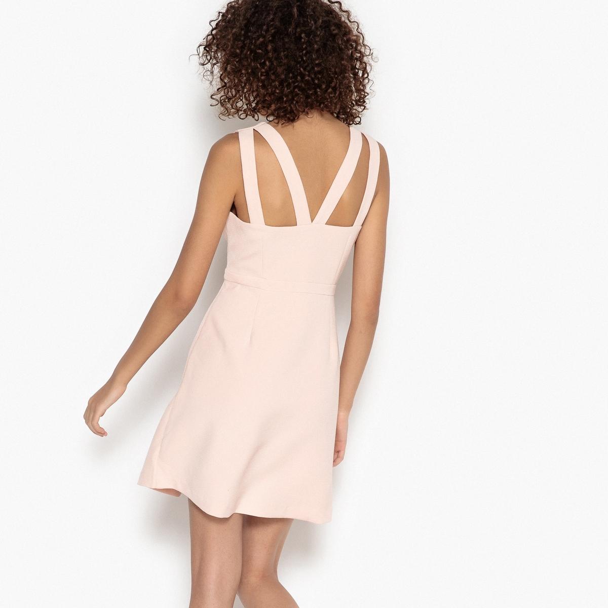 Платье короткое приталенное на широких бретелях без рукавов платье без рукавов suncoo
