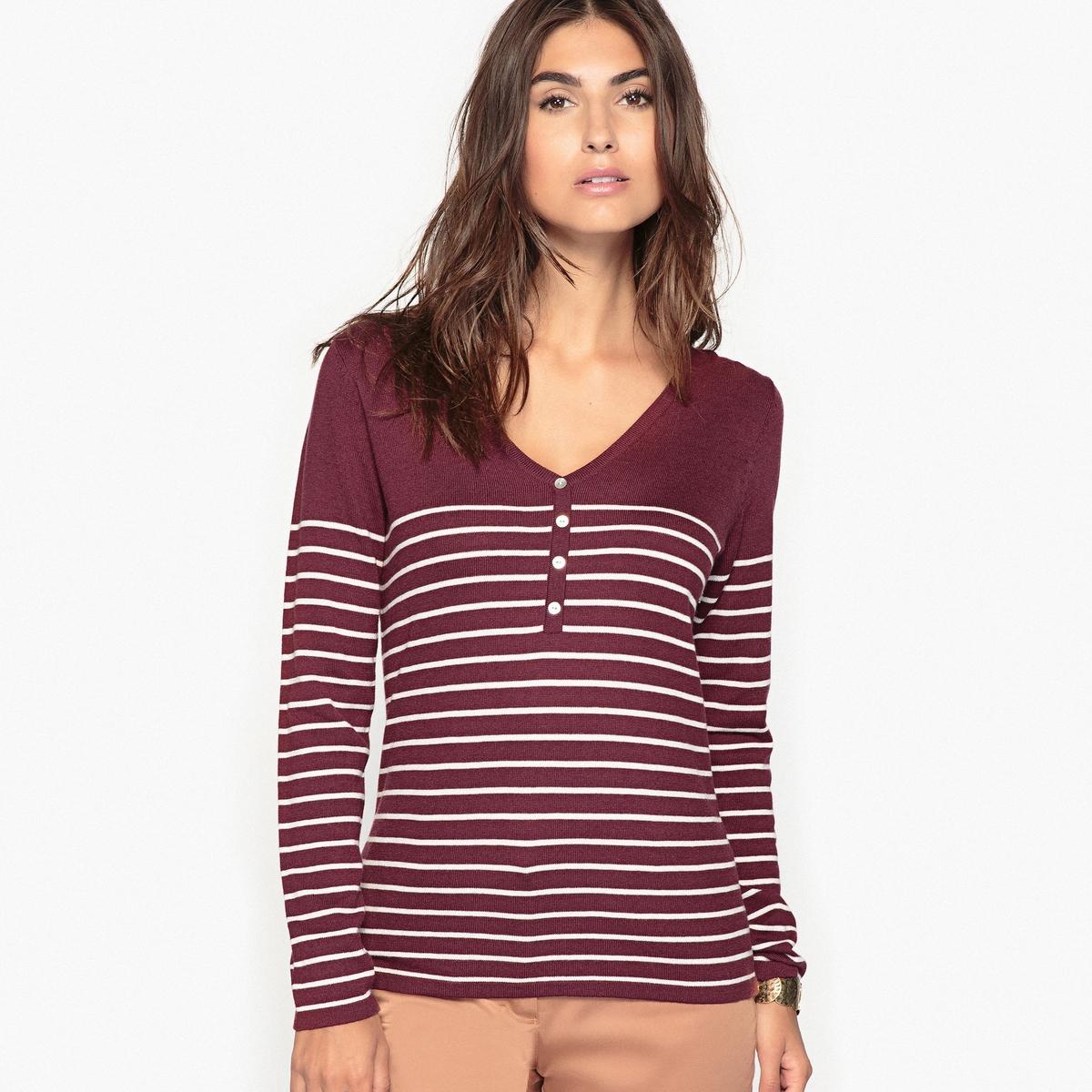 Пуловер в полоску в морском стиле, окрашенные волокна, 10% шерсти