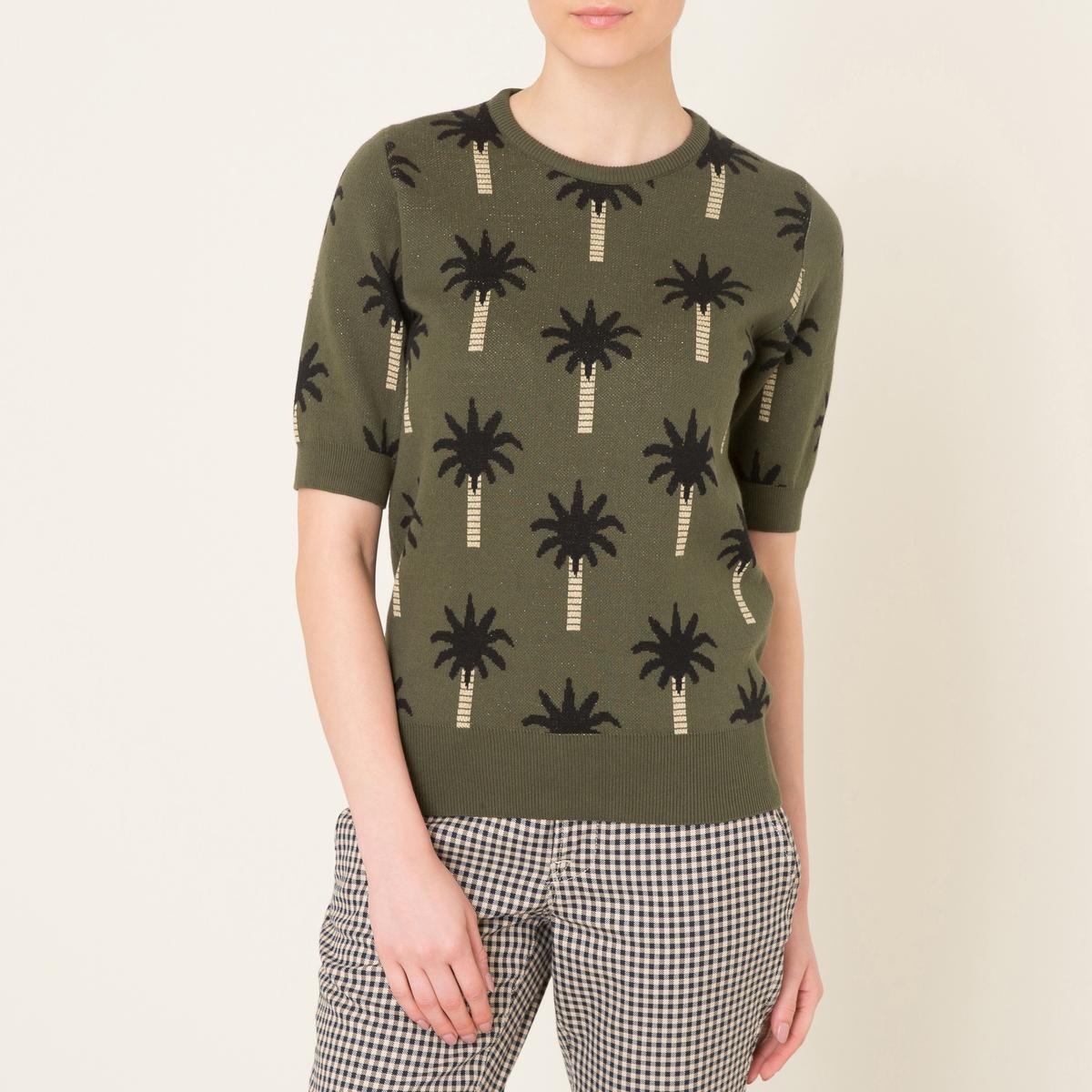 Пуловер OASISПуловер BLUNE - модель OASIS с жаккардовым рисунком пальмы. Круглый вырез с краями в рубчик. Рукава по локоть. Края низа и рукавов связаны в рубчик.Состав и описание Материал : 100% хлопокМарка : BLUNE<br><br>Цвет: хаки
