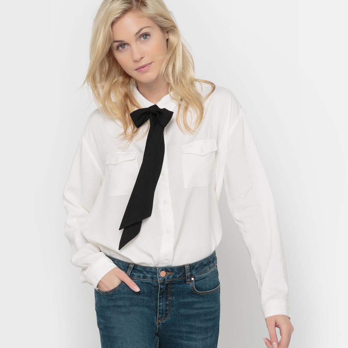 Рубашка с галстуком-бантомСостав &amp; ДеталиМатериал: 100% вискозы     Марка        VERO MODA               Уход     Следуйте рекомендациям по уходу, указанным на этикетке изделия.<br><br>Цвет: слоновая кость,черный<br>Размер: XL.XS.S