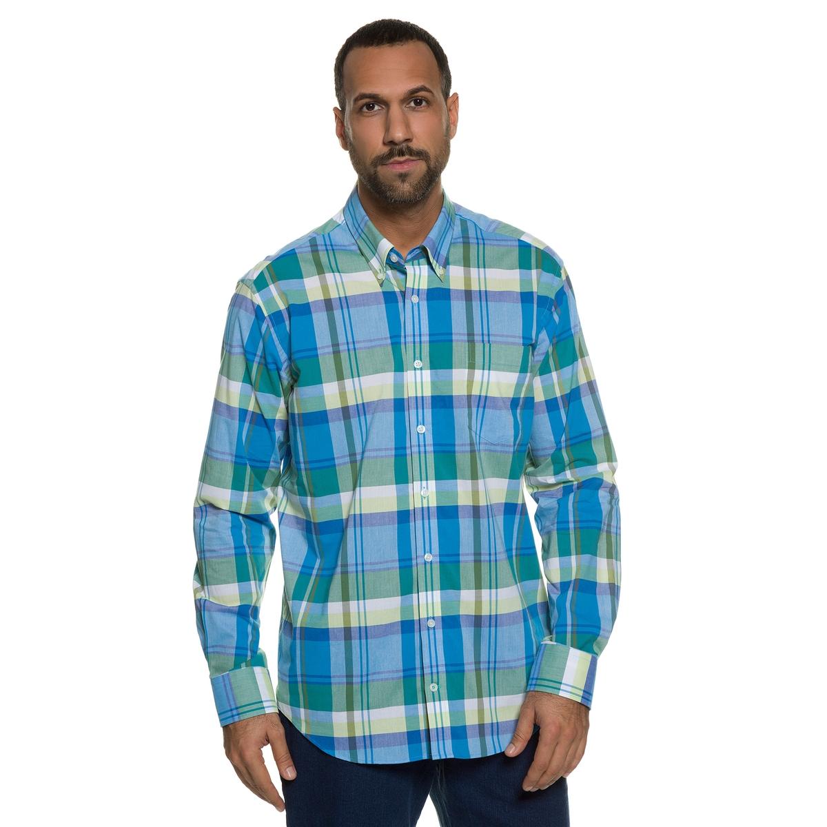 РубашкаРубашка с длинными рукавами JP1880. 100% хлопок.Рубашка в клетку. Нагрудный карман, воротник с уголками на пуговицах, внутренняя часть манжет из оксфорда . Слегка приталенный покрой позволяет носить рубашку также поверх брюк на свободный манер. Длина в зависимости от размера ок. 78-94 см<br><br>Цвет: в клетку<br>Размер: 7XL