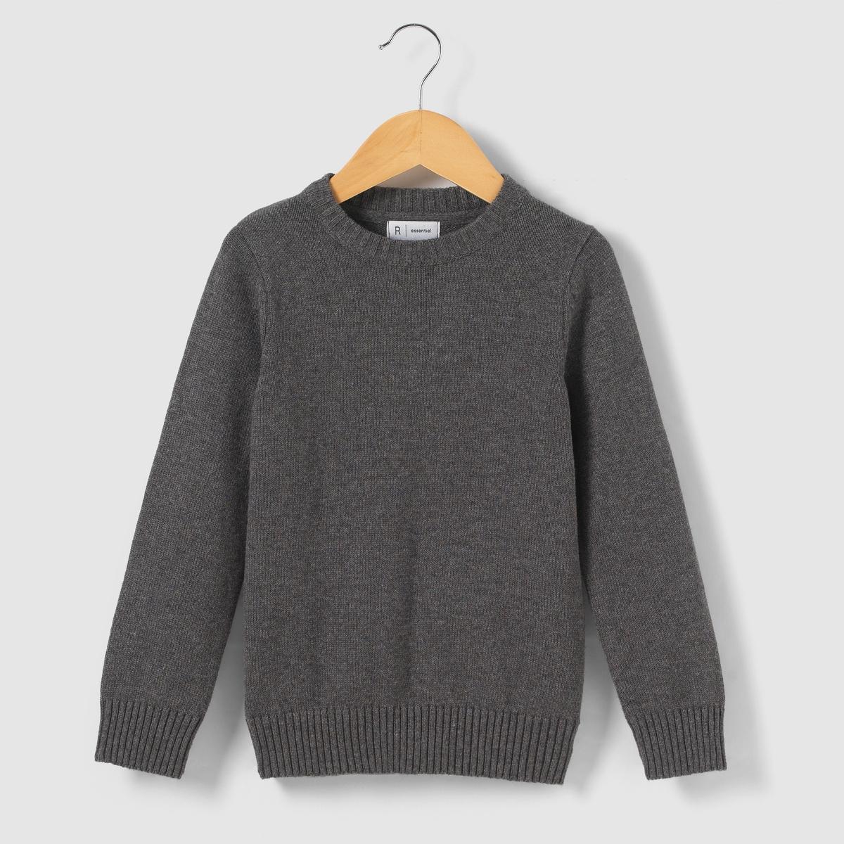 Пуловер однотонный с круглым вырезом 3-12 лет