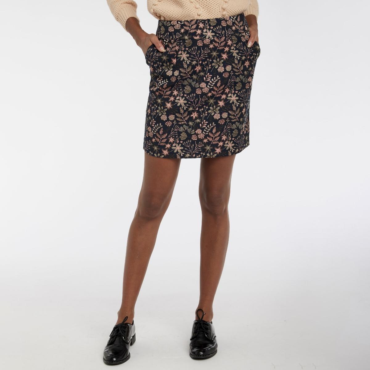 Юбка La Redoute Короткая с цветочным принтом 36 (FR) - 42 (RUS) серый пижама la redoute с принтом короткая 34 36 fr 40 42 rus белый
