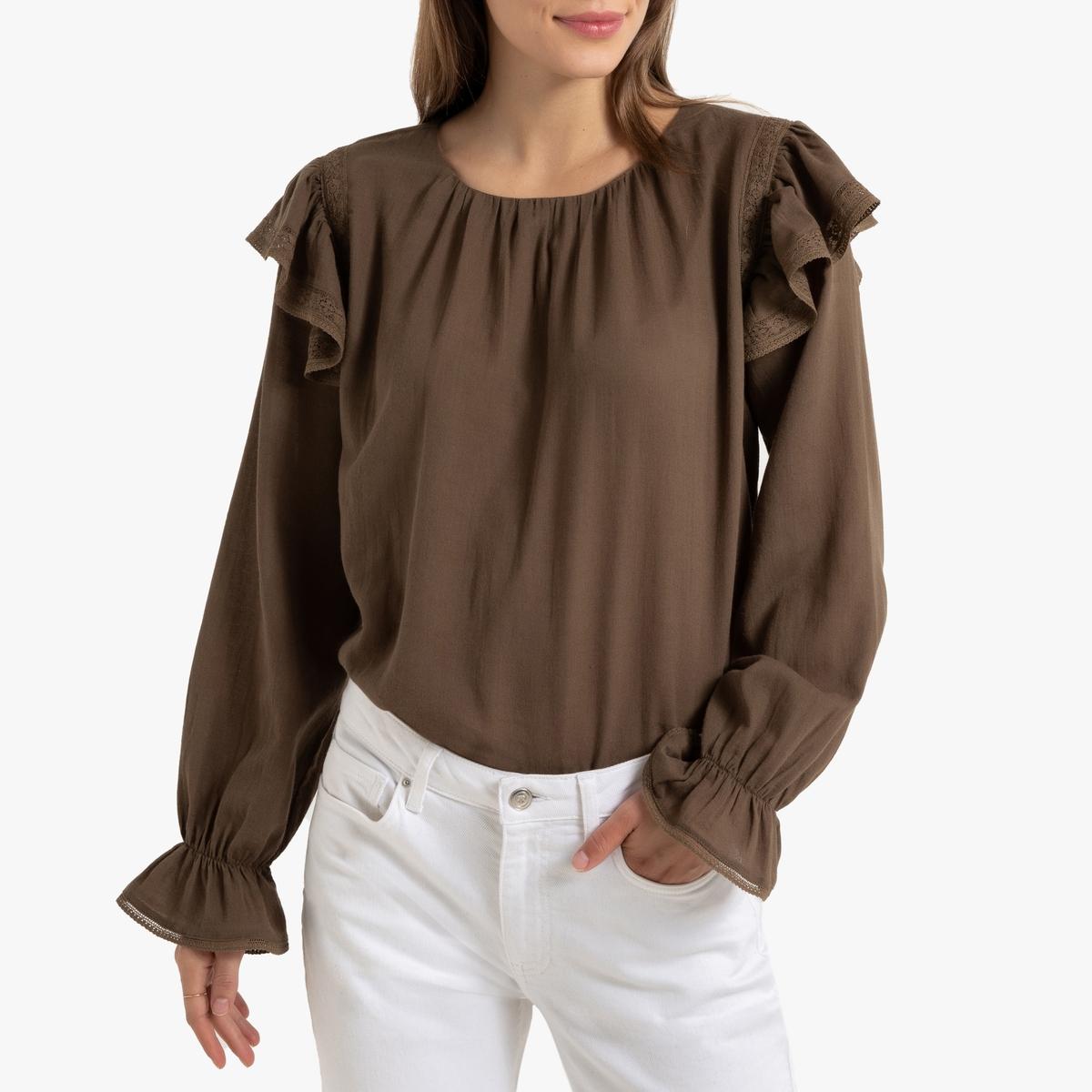 Blusa con volantes, manga larga y cuello redondo