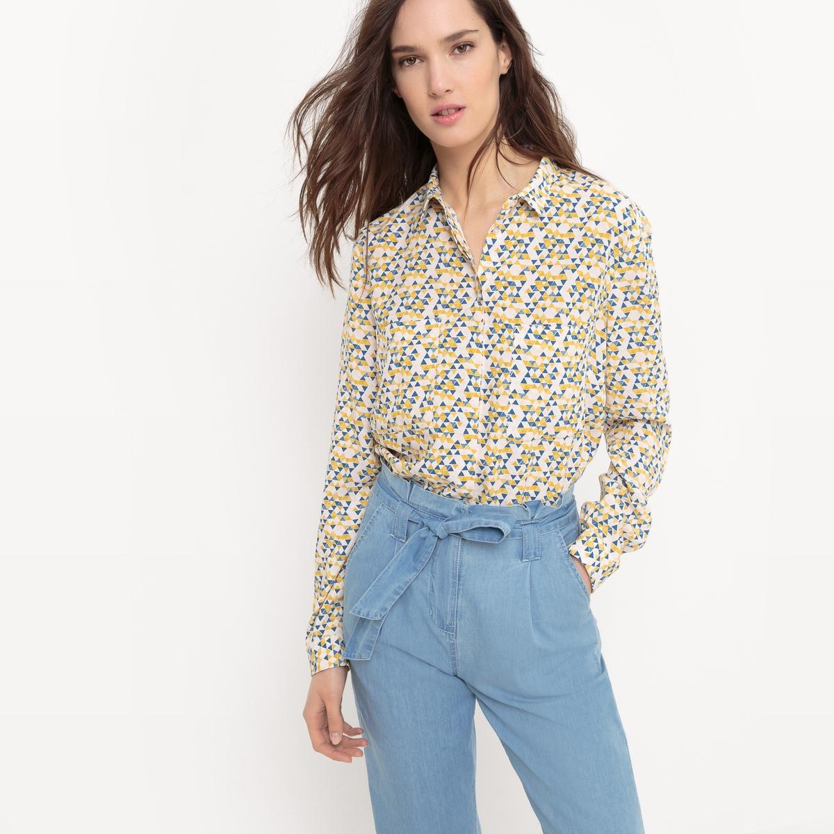 Рубашка струящаяся с треугольным принтом
