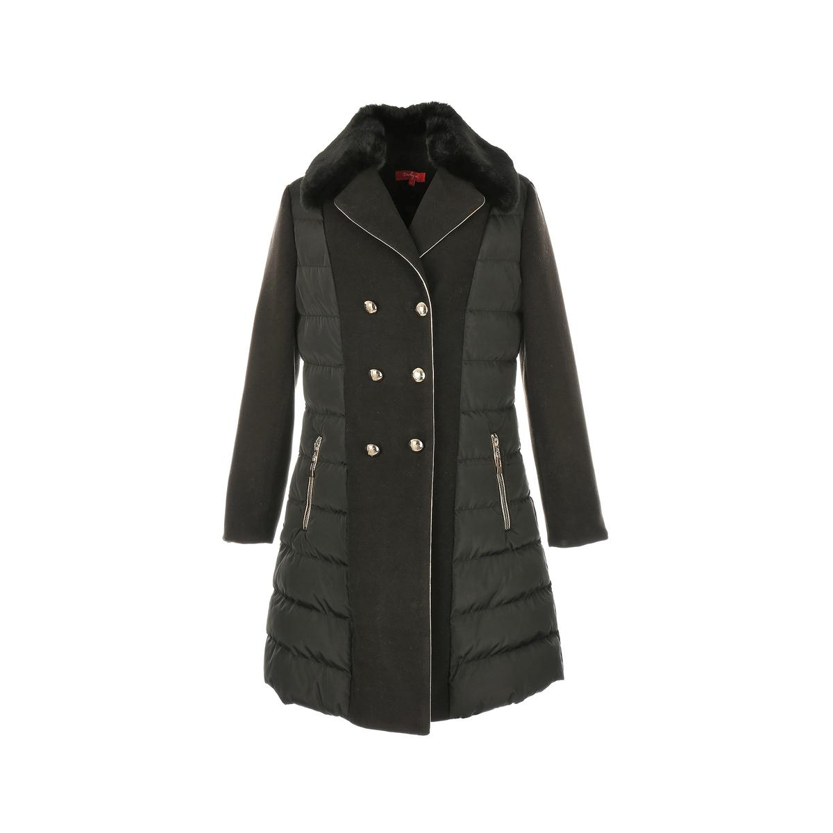Пальто средней длины, зимняя модельДетали •  Длина  : средняя  •  Воротник-стойка •  Застежка на молнию Состав и уход •  4% вискозы, 96% полиэстера •  Следуйте советам по уходу, указанным на этикетке<br><br>Цвет: черный