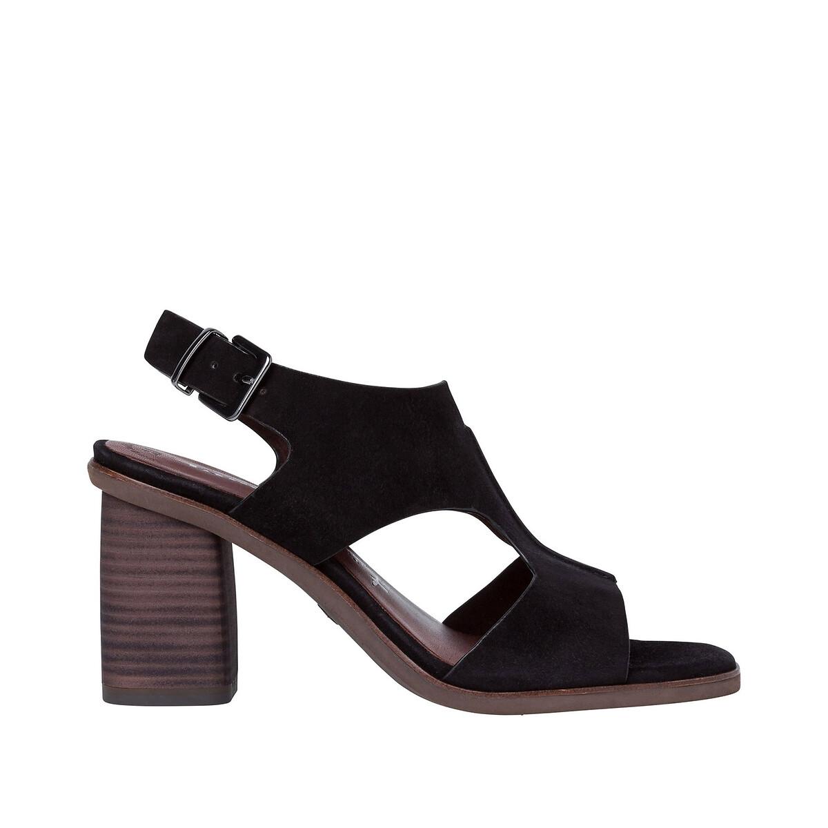 цена Босоножки La Redoute Кожаные на каблуке Naomy 36 черный онлайн в 2017 году