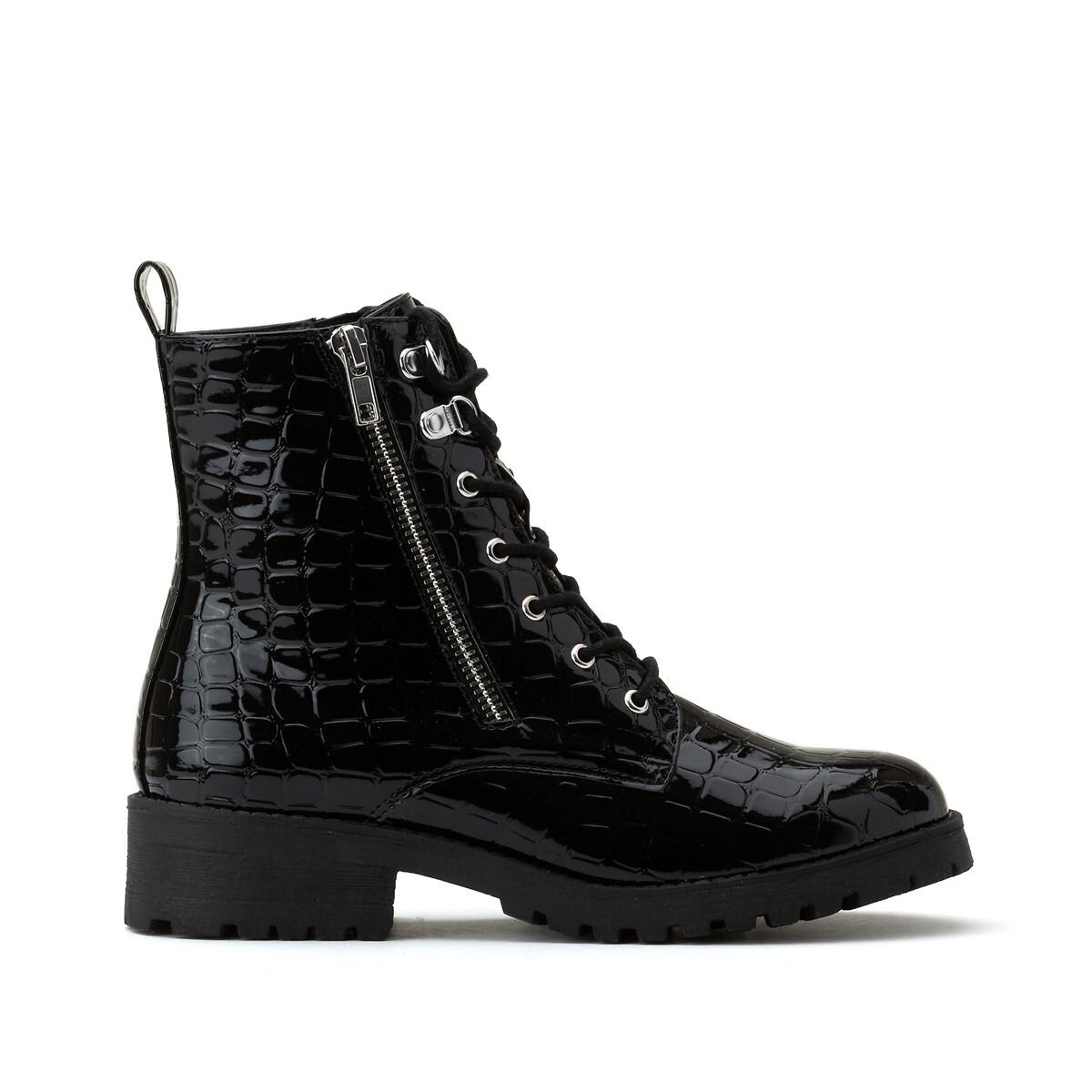 Ботинки LaRedoute Лакированные с эффектом крокодиловой кожи 41 черный недорого