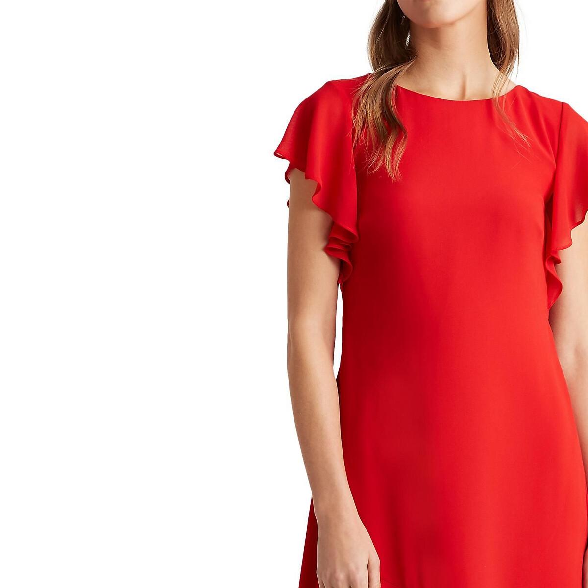 красное платье с короткими рукавами картинки