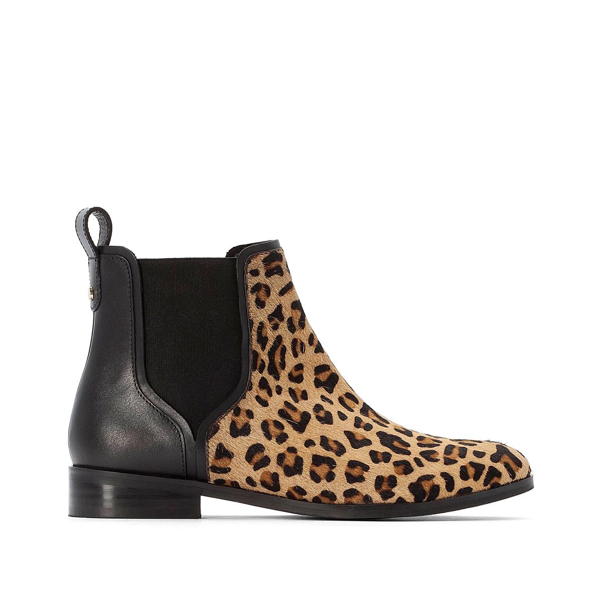Botines Chelsea de piel, estilo leopardo delante