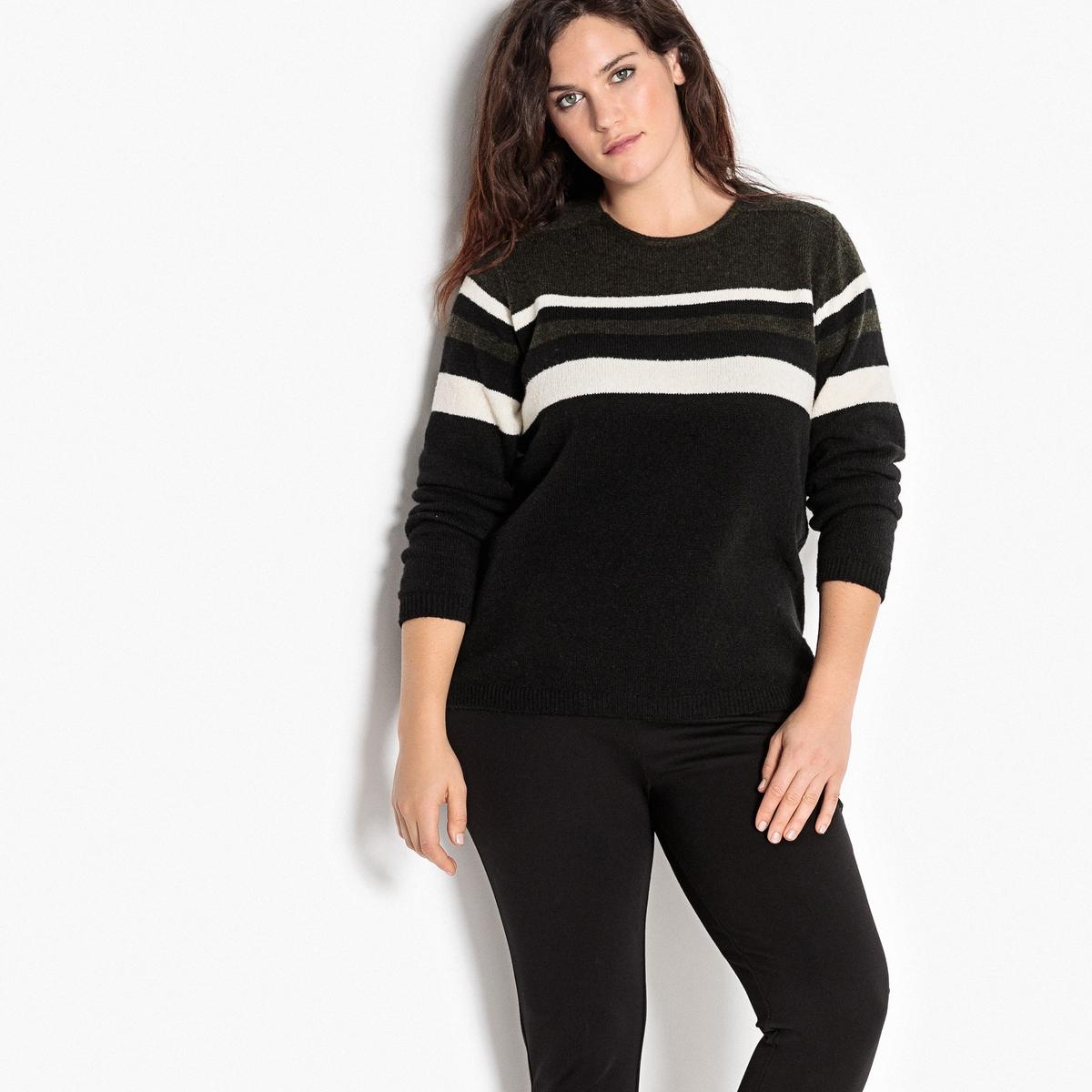 Пуловер с круглым вырезом и длинными рукавамиОписание:Модный пуловер с рисунком в полоску. Чтобы подчеркнуть графичный рисунок в полоску, этот пуловер лучше носить с брюками-слим черного цвета.Детали •  Длинные рукава •  Круглый вырез •  Тонкий трикотаж  •  Рисунок в полоскуСостав и уход •  13% шерсти, 30% акрила, 16% хлопка, 2% эластана, 10% модала, 29% полиамида  •  Температура стирки при 30° на деликатном режиме   •  Сухая чистка и отбеливатели запрещены •  Сушить на горизонтальной поверхности •  Низкая температура глажкиТовар из коллекции больших размеров<br><br>Цвет: черный/ хаки<br>Размер: 50/52 (FR) - 56/58 (RUS)