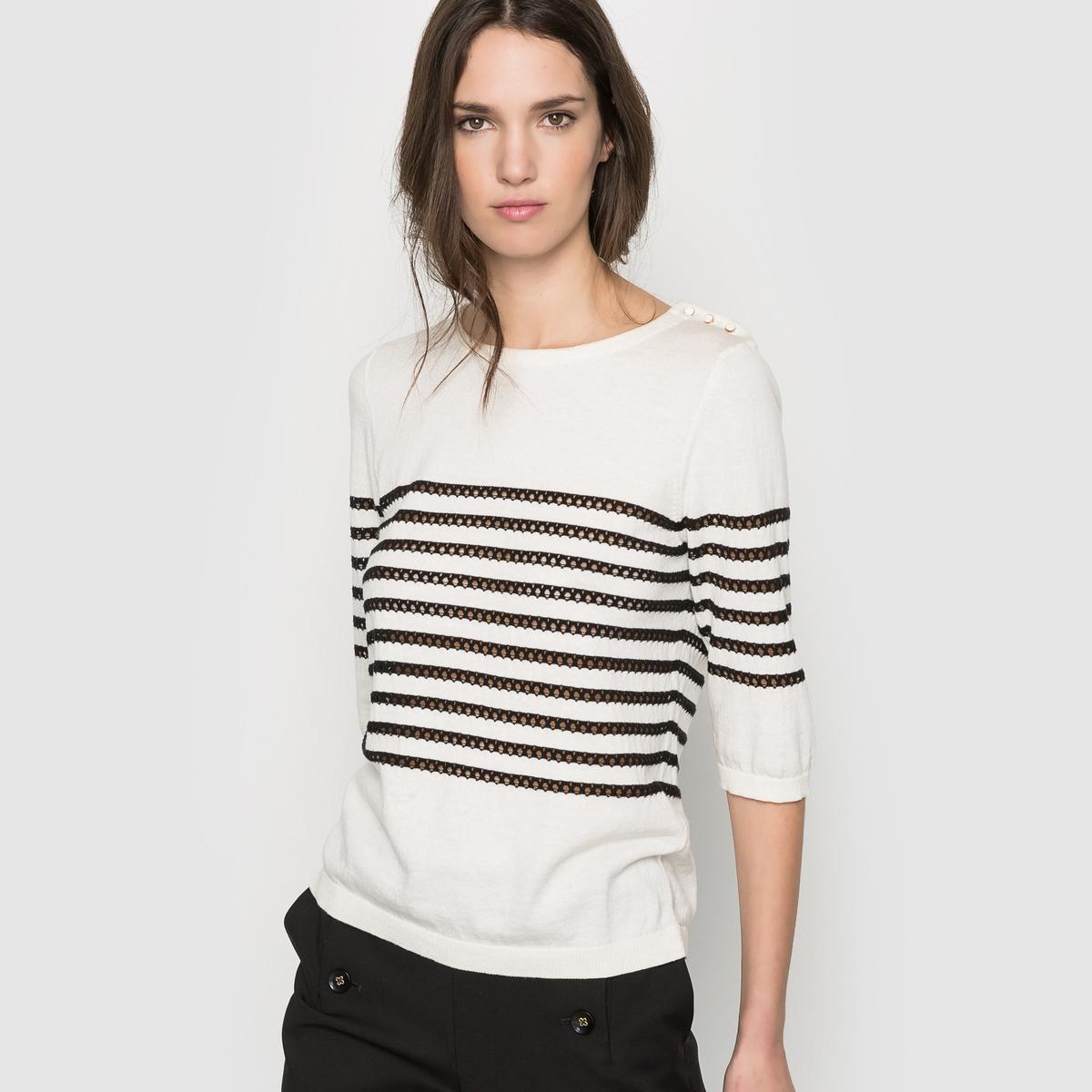 Пуловер в полоскуПуловер в полоску . 100% хлопка . Свободный вырез . С пуговицей на плече   . Рукава 3/4  . Длина 57 см .<br><br>Цвет: экрю