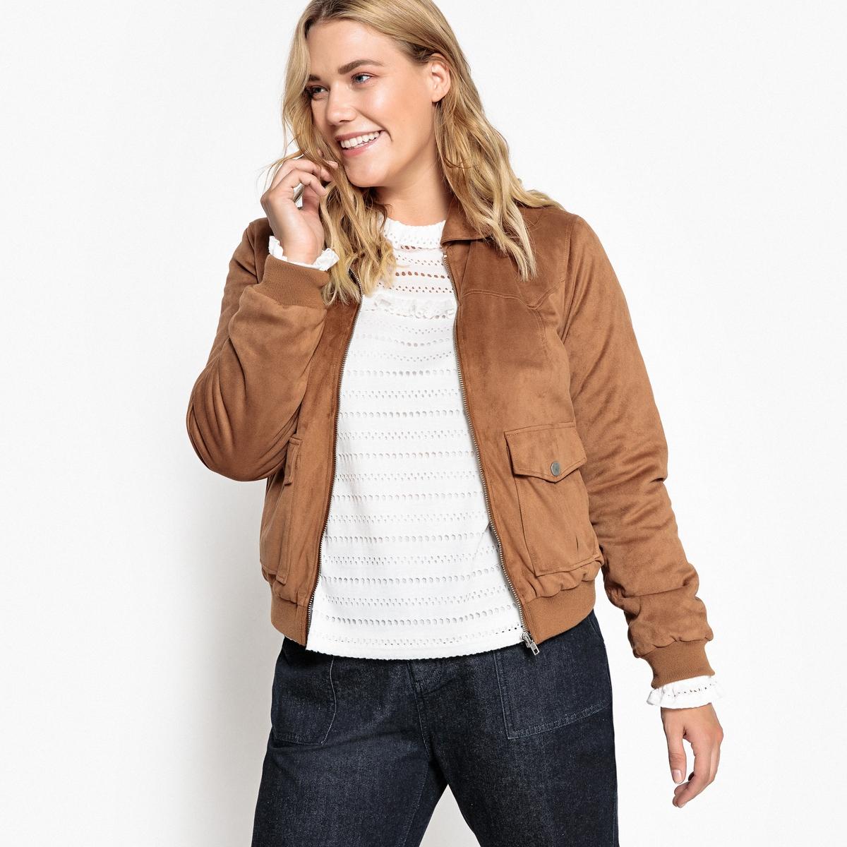 Kurze Jacke in Lederoptik  gerader Schnitt   Bekleidung > Jacken > Sonstige Jacken   Braun   Elasthan - Polyester   CASTALUNA