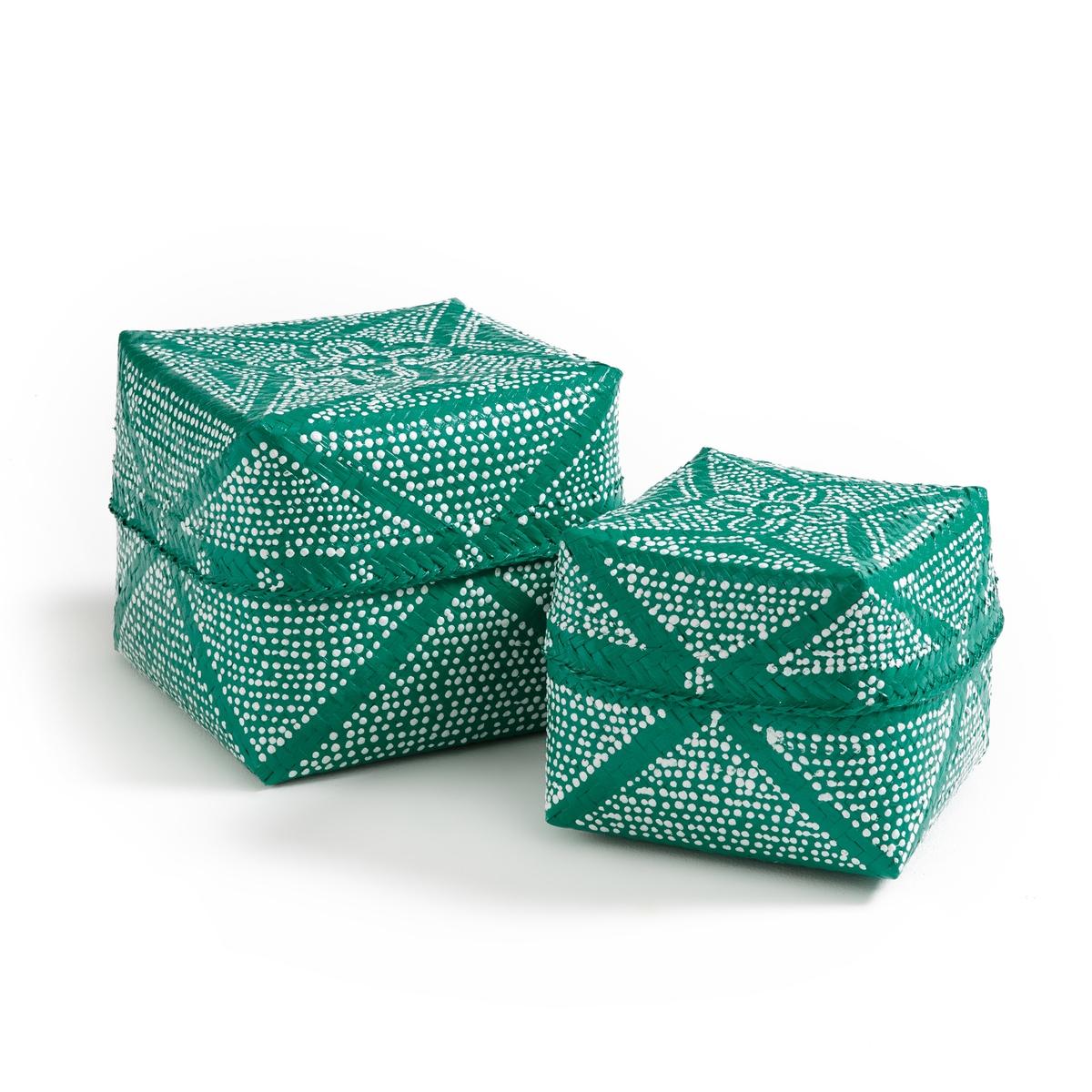 Комплект из 2 коробок для хранения NerfertoumРучная работа. Ручное производство. Характеристики: Из бамбука, покрытого бусинами.Размеры: - Коробка 1: ?19 x В15,5 см,- Коробка 2: ?25 x В24,5 см.<br><br>Цвет: зеленый