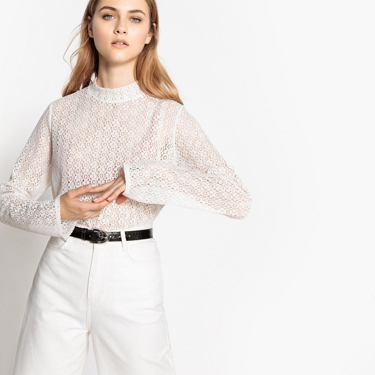 Koronkowa bluzka z wiązaniem na plecach i ze stójką