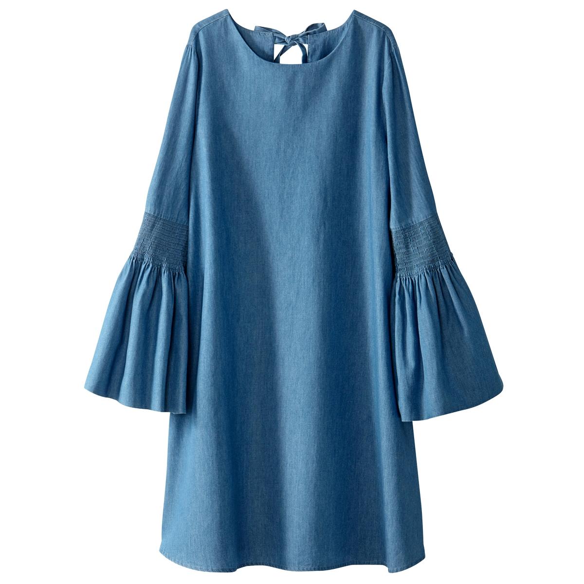 Платье из легкого денима, с рукавами, расширяющимися к низу