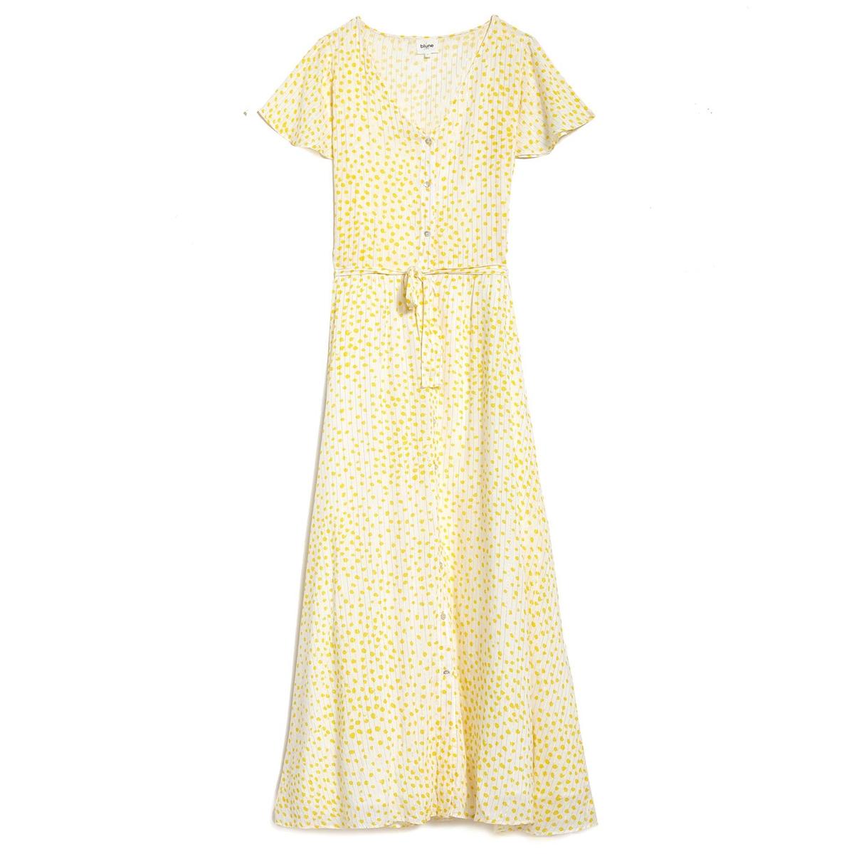 Платье на пуговицах с короткими рукавами SUNLIGHTОписание:Платье длинное с короткими рукавами BLUNE - модель SUNLIGHT. Пуговицы и завязки на поясе по всему расклешенному покрою.Детали •  Форма : расклешенная •  Длина ниже колен •  Короткие рукава    •   V-образный вырез •  Рисунок в горошекСостав и уход •  99% вискозы, 1% металлизированных волокон •  Следуйте советам по уходу, указанным на этикетке<br><br>Цвет: желтый