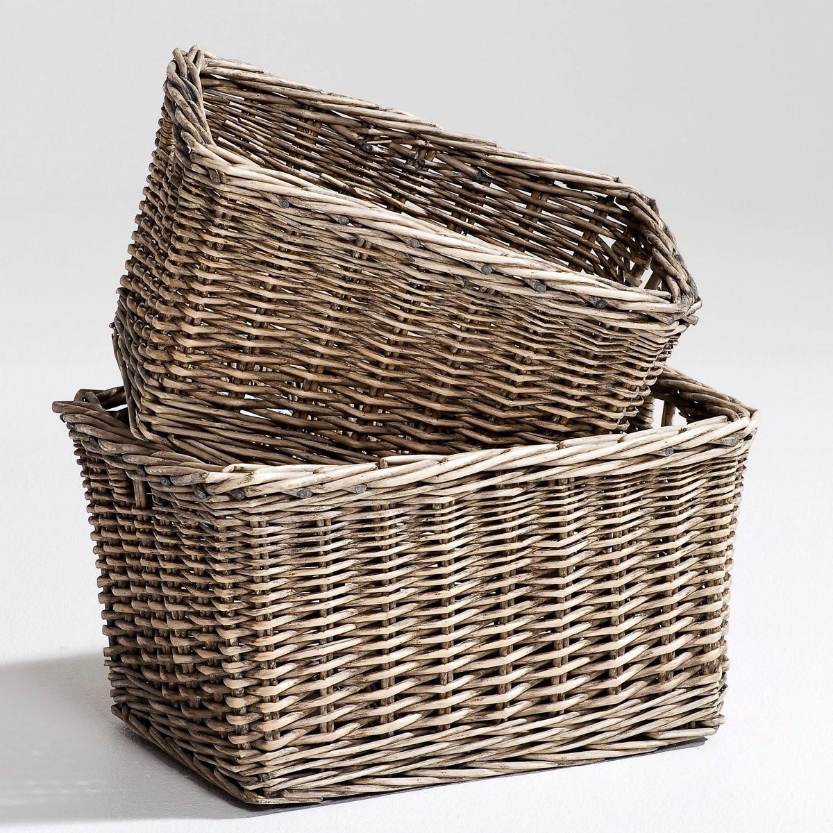 Набор LaRedoute Из 2 корзин из плетеного ротанга Semra единый размер каштановый