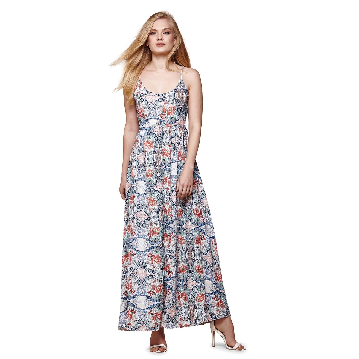 Платье длинное с тонкими бретелями и цветочным рисунком