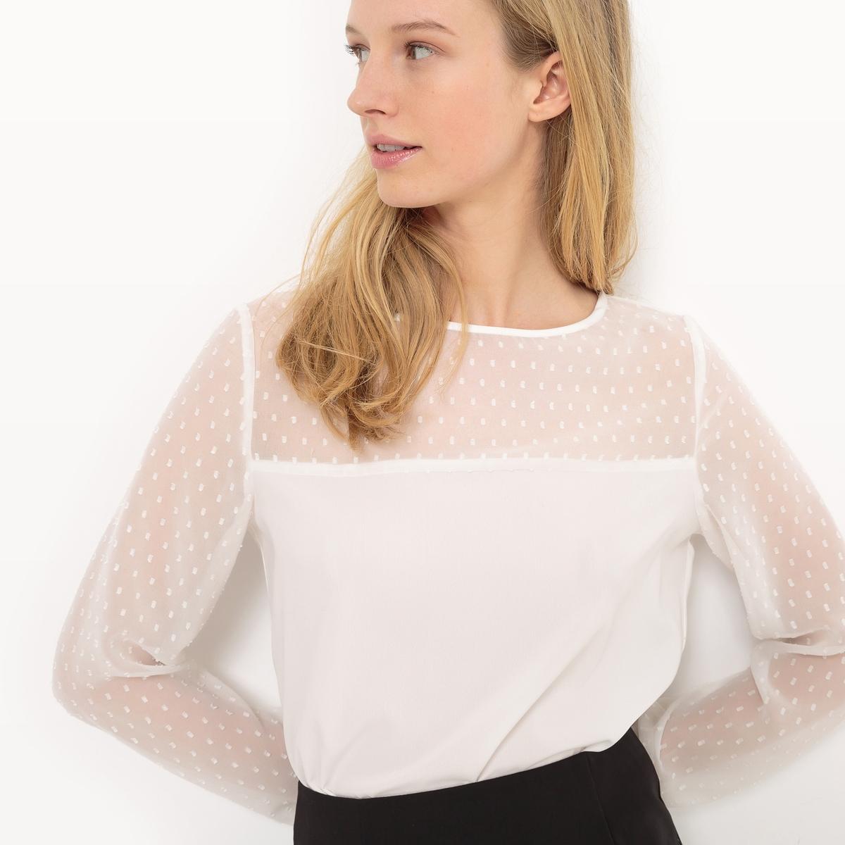 Блузка с длинными рукавами, вставка, расшитая гладью