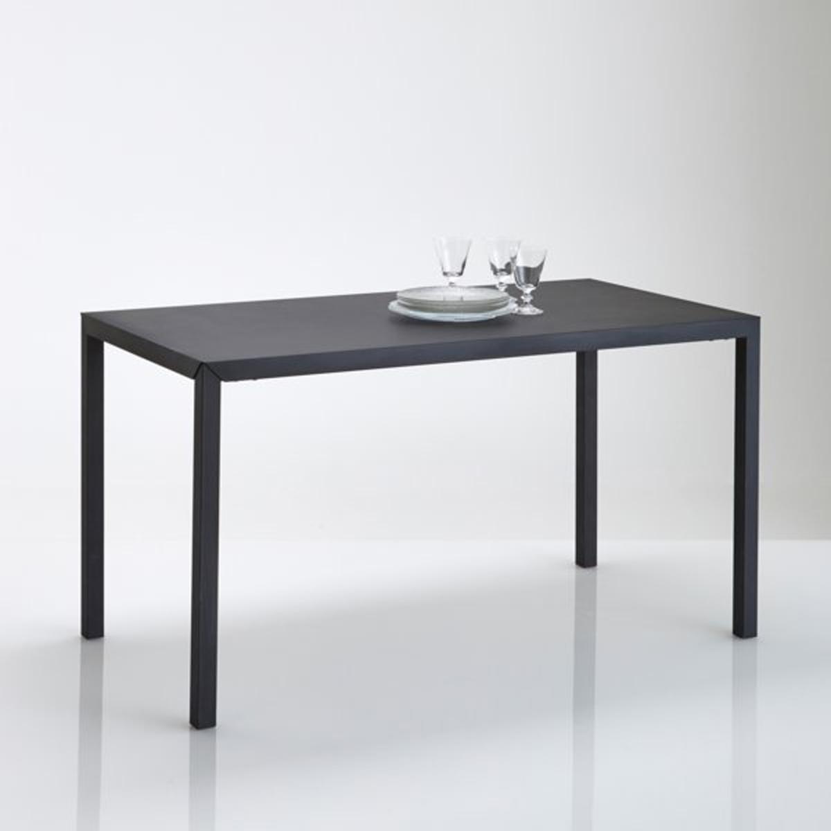 Стол LaRedoute Обеденный из черного матового металла на 4 персоны Hiba 4 персоны черный стол laredoute обеденный 68 cперсон массив сосны alvina 8 персоны белый