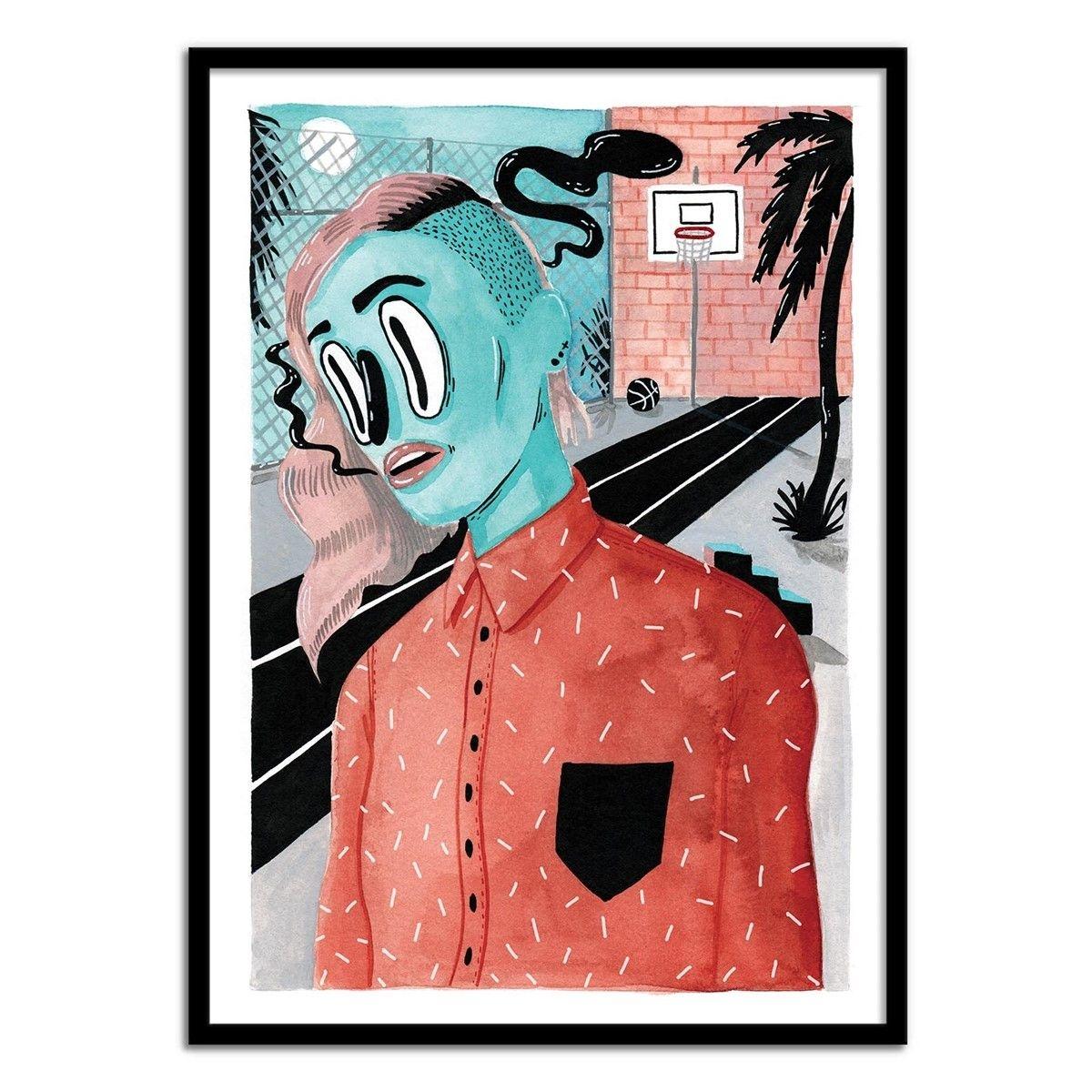 wall editions affiche art 50x70 cm girl portrait street art illustration shoppingscanner. Black Bedroom Furniture Sets. Home Design Ideas