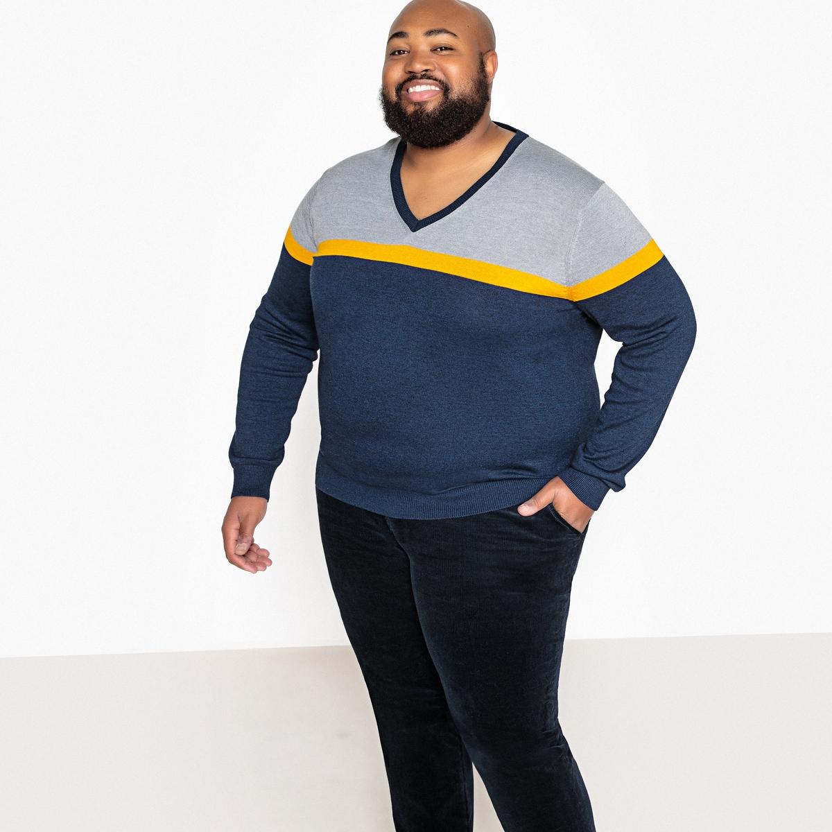 Пуловер La Redoute Большого размера с V-образным вырезом из тонкого трикотажа 3XL синий