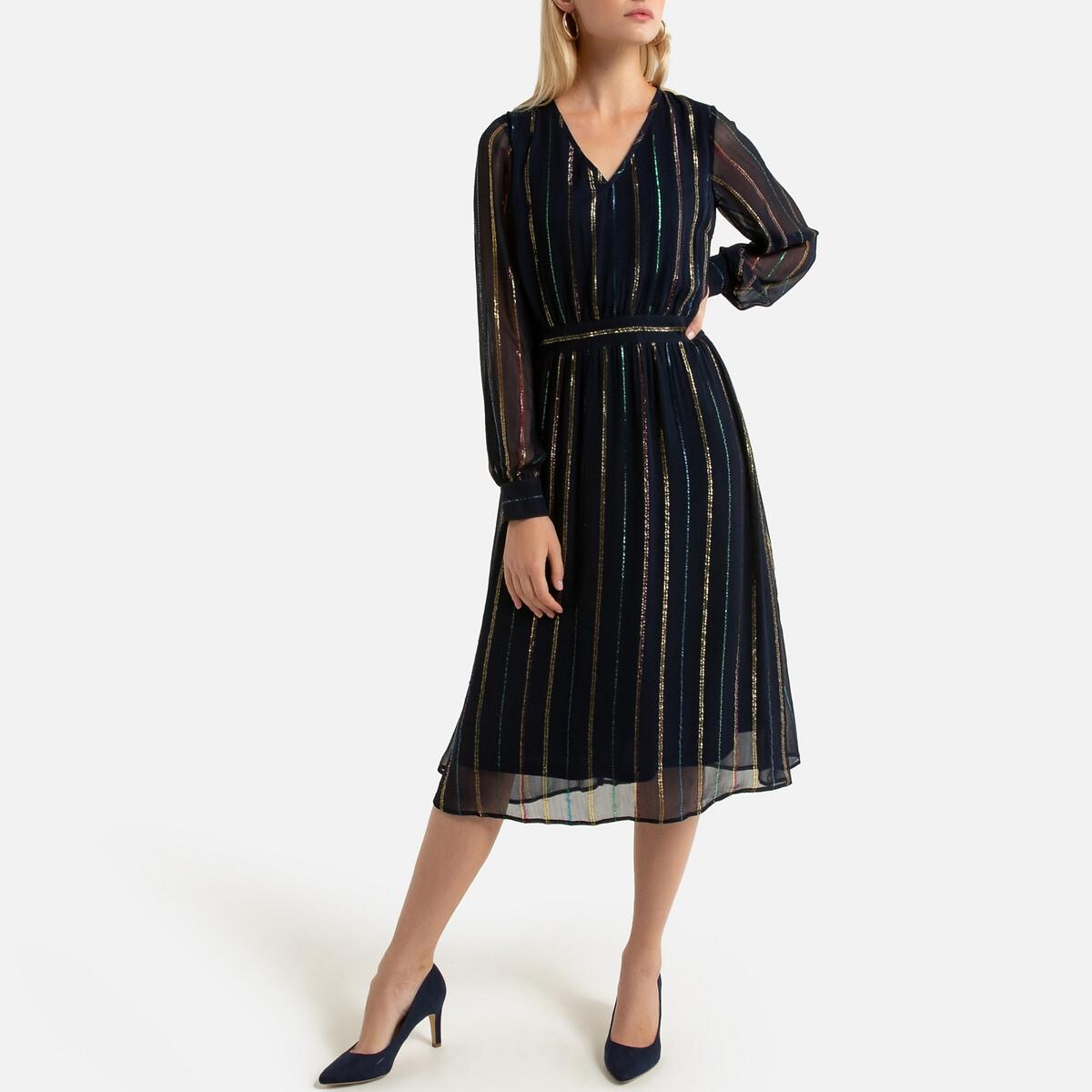 Платье-миди LaRedoute Расклешенное с длинными рукавами 42 (FR) - 48 (RUS) синий платье la redoute короткое расклешенное в горошек с ажурными бретелями 42 fr 48 rus синий