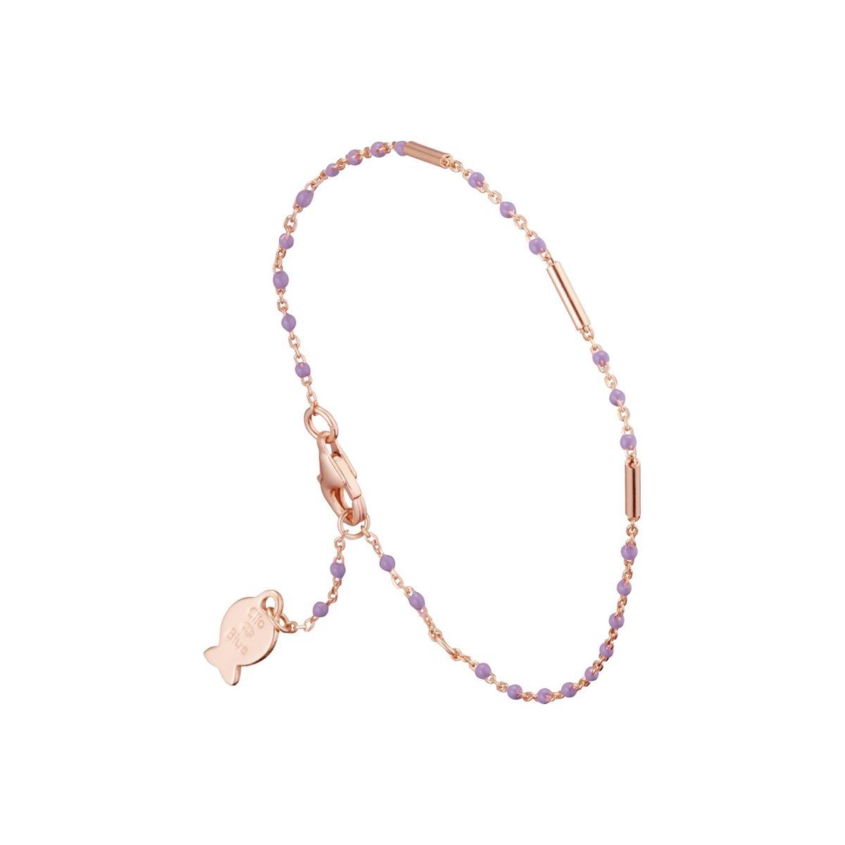 Bracelet chaîne Mimi en argent 925, dorure or rose, émail, 1.3g