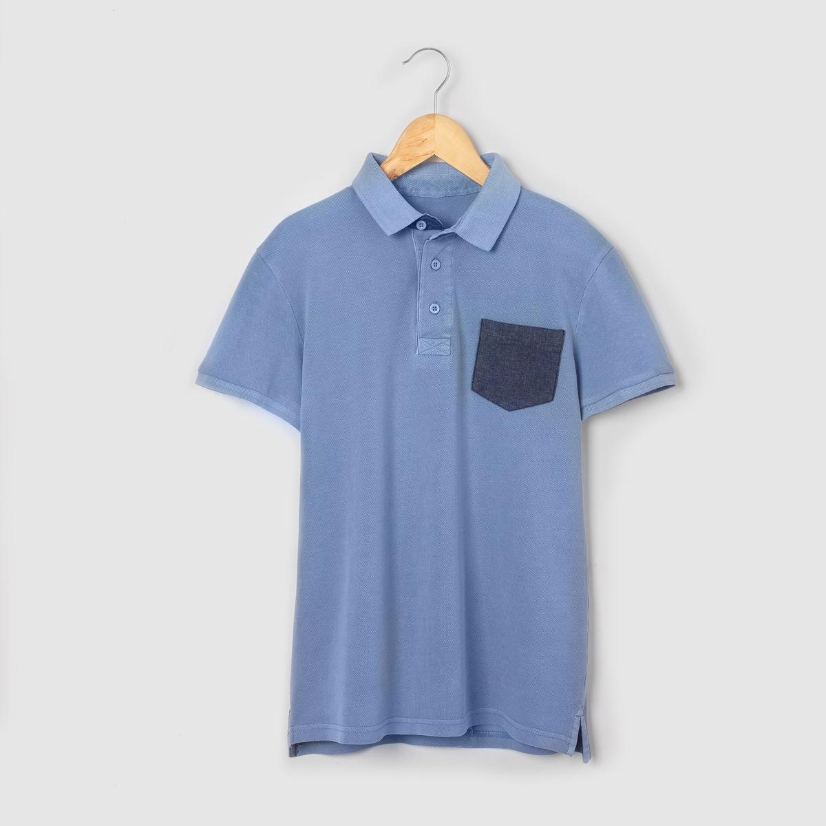 Футболка-поло с контрастным карманом, 10-16 лет