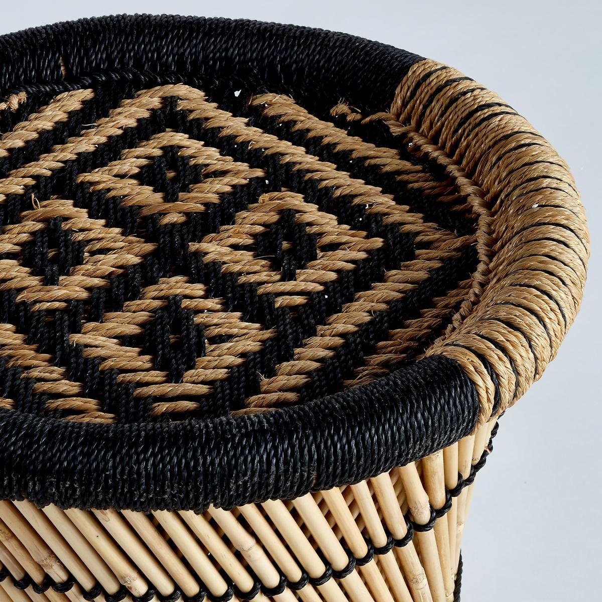 Столик диванный Tingda, рисунок в стиле икат<br><br>Цвет: экрю/ черный