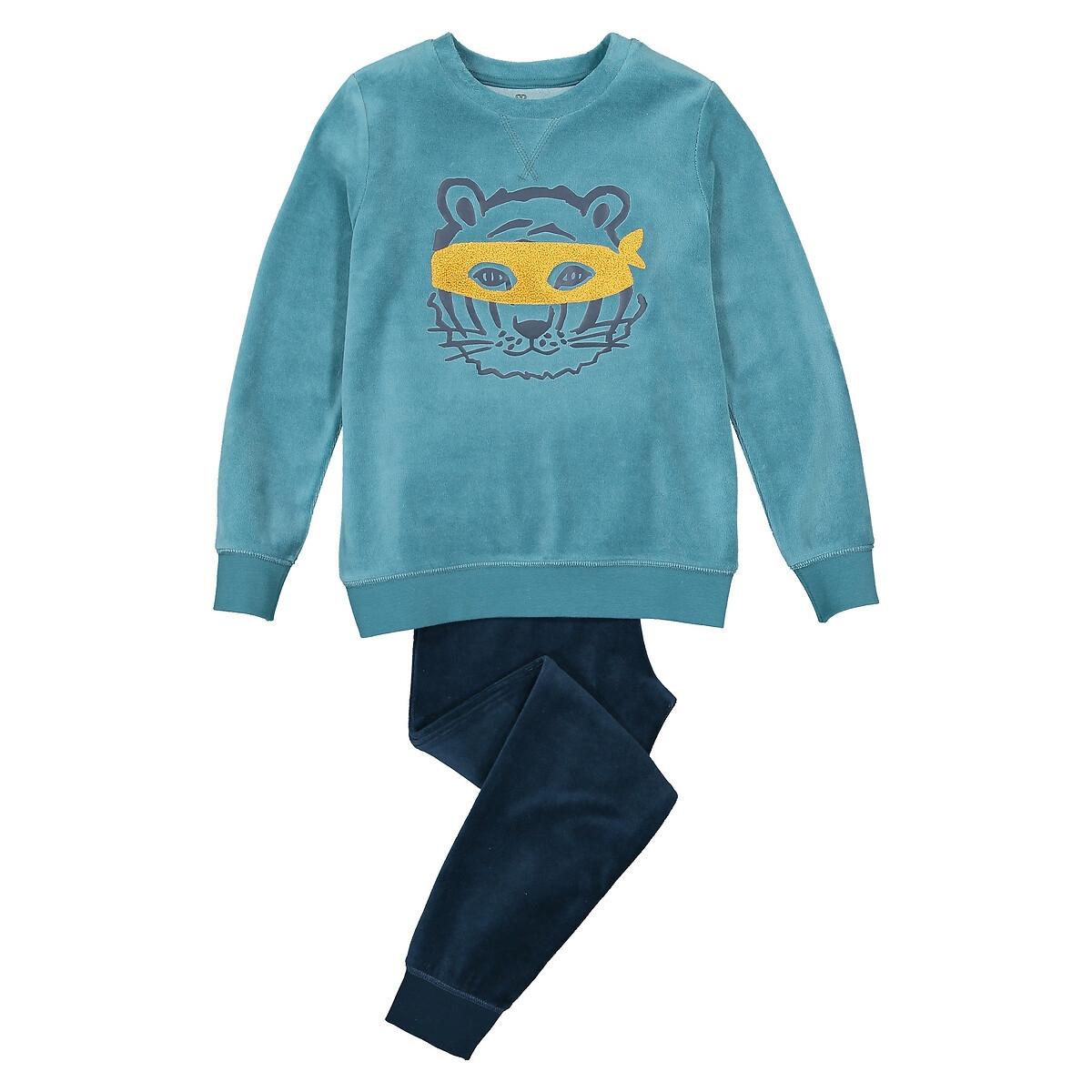 Пижама LaRedoute Из велюра с длинными рукавами из биохлопка 3-12 лет 4 года - 102 см синий