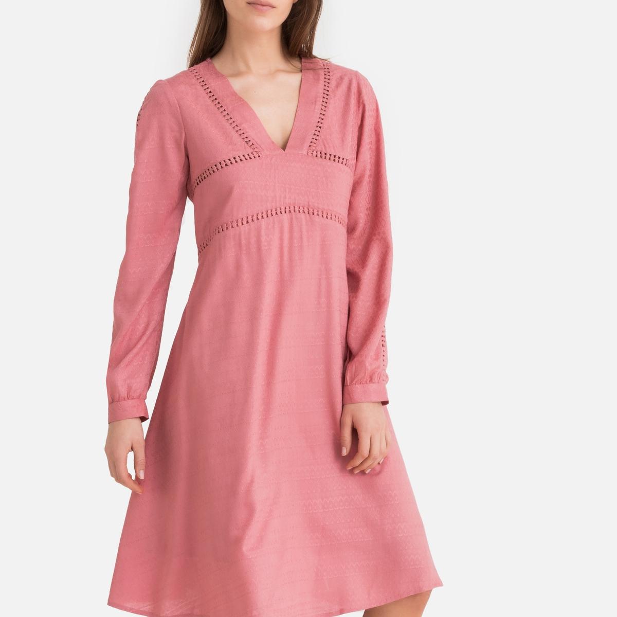 Платье La Redoute Расклешенное с длинными рукавами 34 (FR) - 40 (RUS) розовый