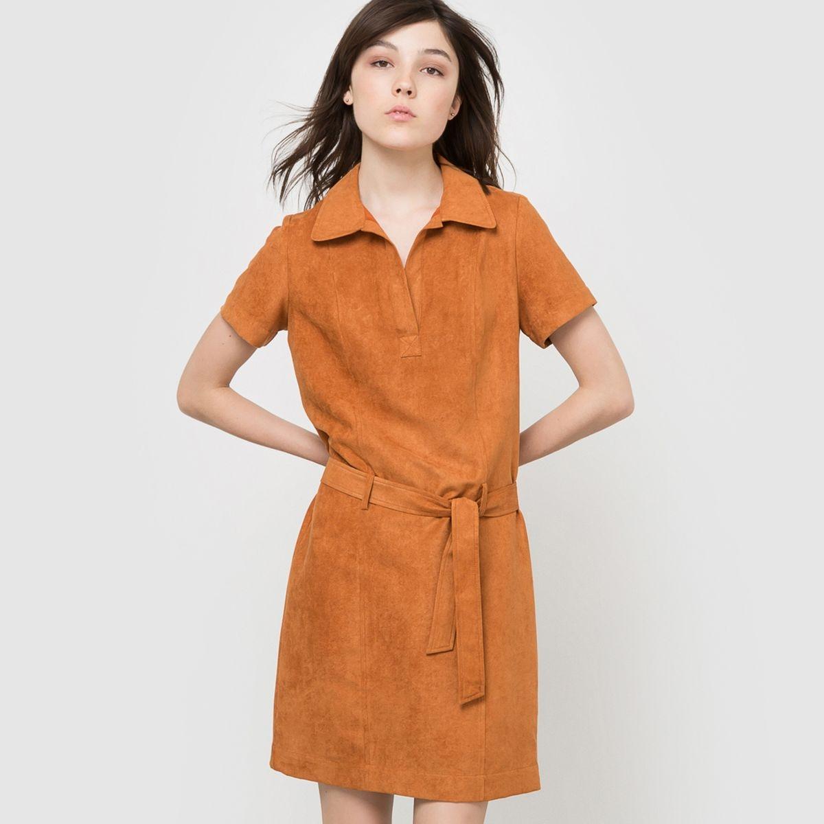 Robe suédine, manches courtes avec ceinture