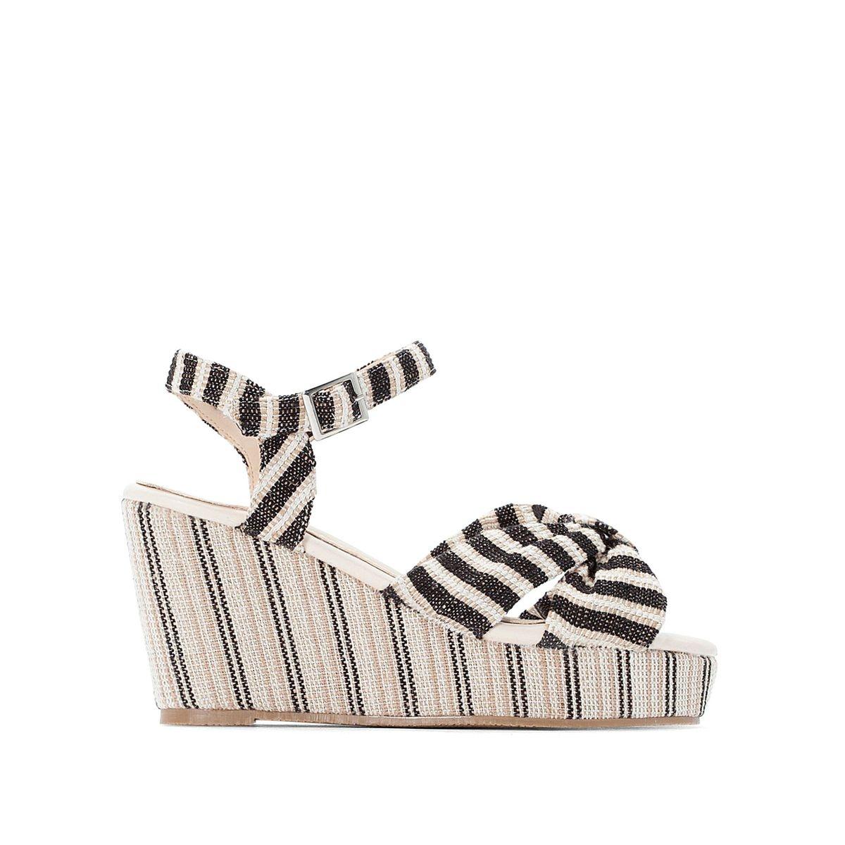 Sandales rayées à talon compensé