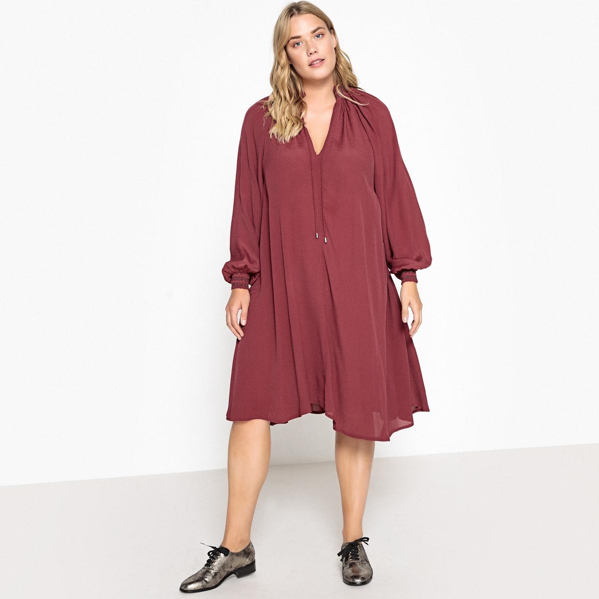 Sukienka rozkloszowana, półdługa, długi rękaw
