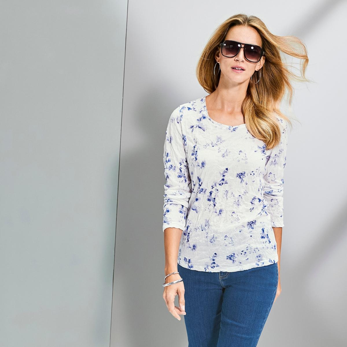 Imagen principal de producto de Camiseta estampada de punto arrugado y manga larga - Anne weyburn