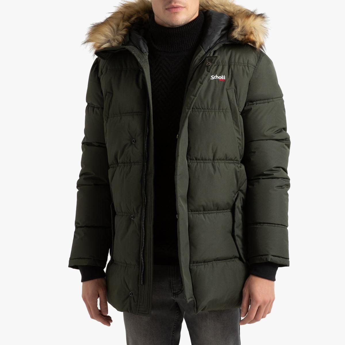 Куртка La Redoute Стеганая длинная с капюшоном Airfur L зеленый