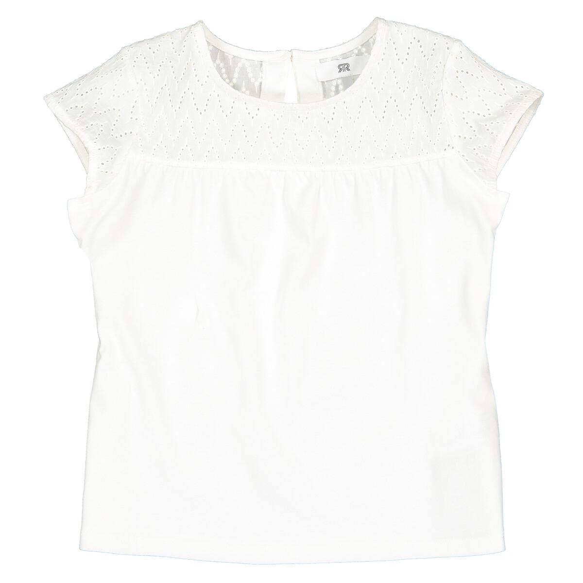 Футболка La Redoute С английской вышивкой 4 года - 102 см бежевый блузка la redoute с отложным воротником с вышивкой мес года 1 мес 54 см красный