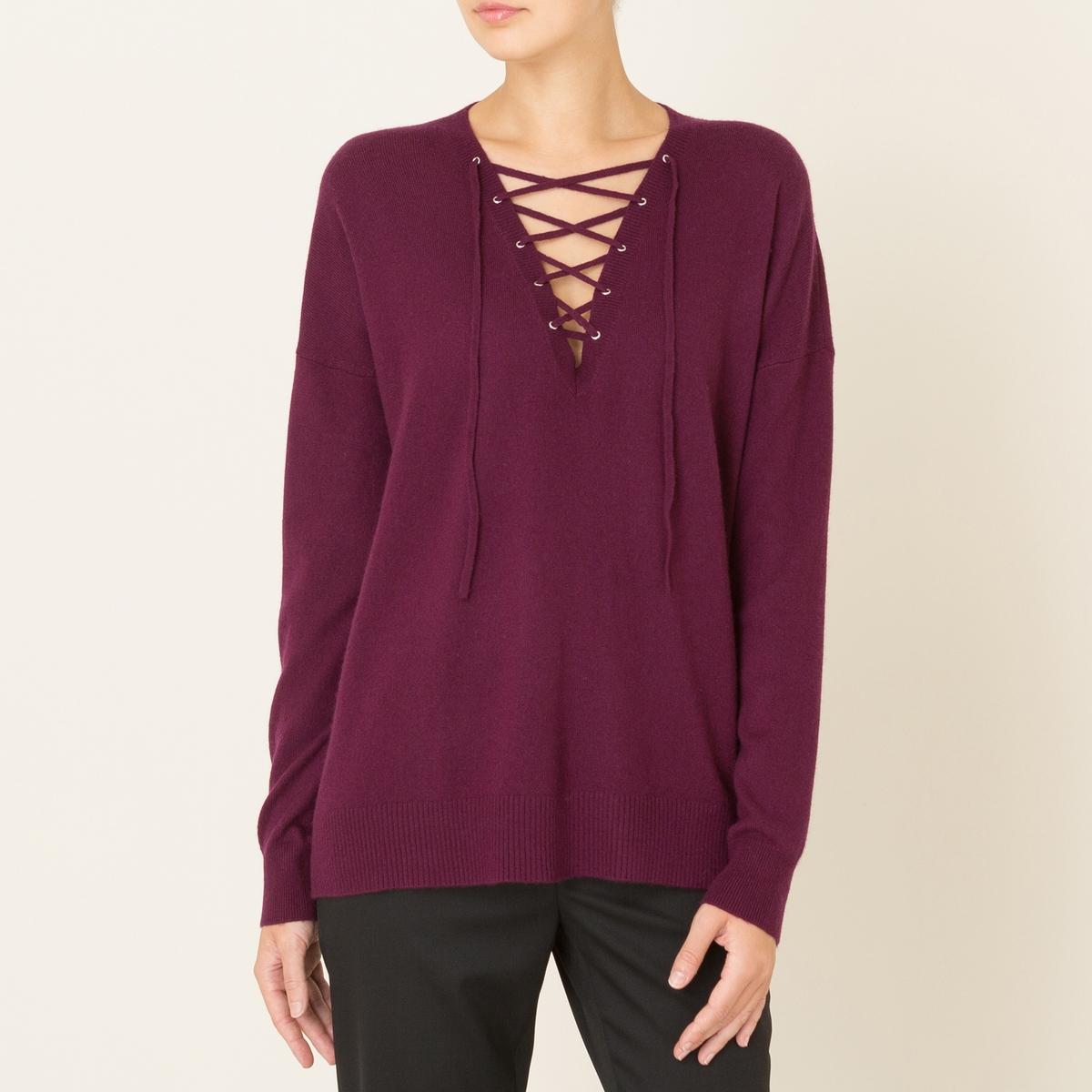 Пуловер женский из шерсти и кашемираСостав и описание Материал : 90% шерсти, 10% кашемира Марка : THE KOOPLES<br><br>Цвет: бордовый<br>Размер: M