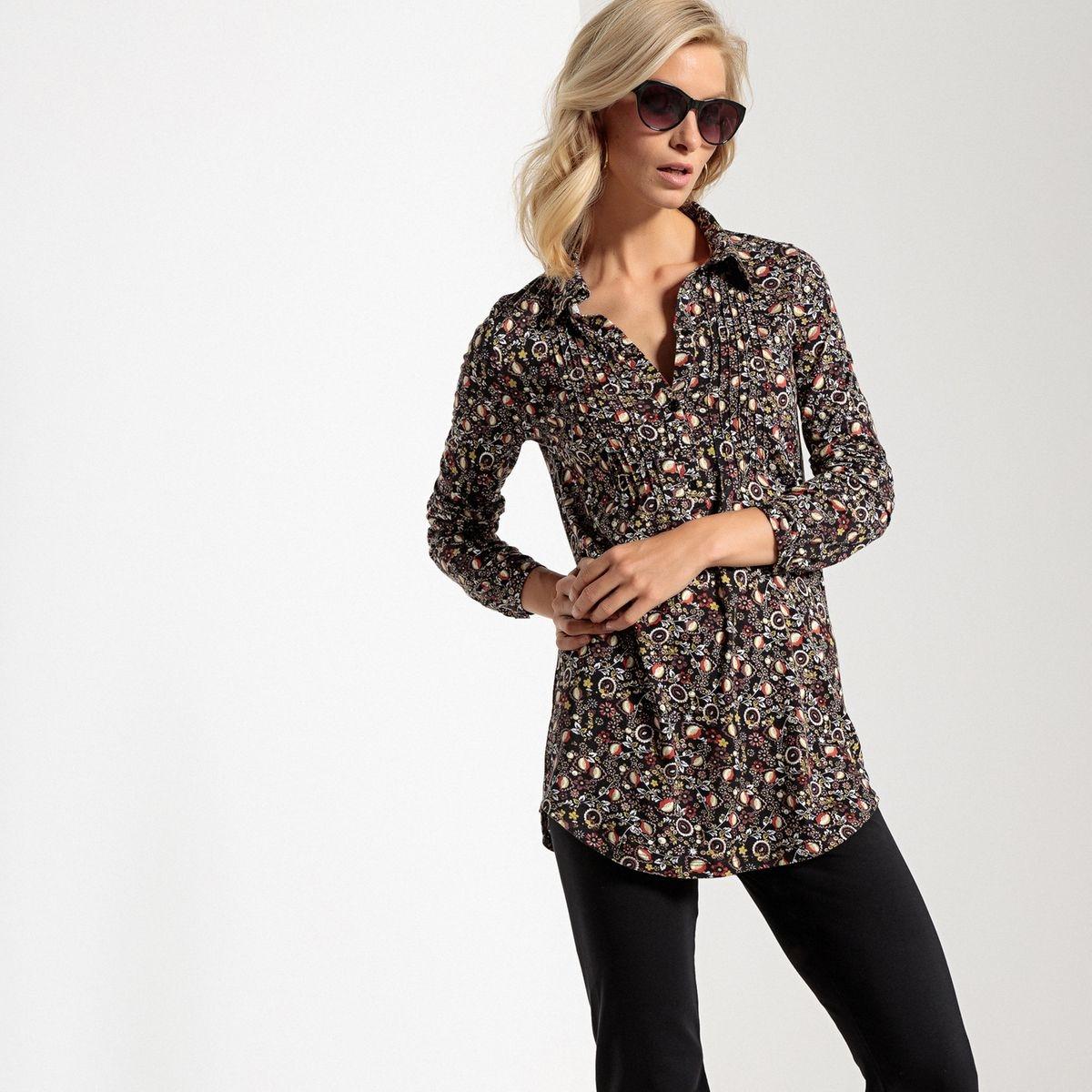 Tunique ample, col chemise, coton et modal