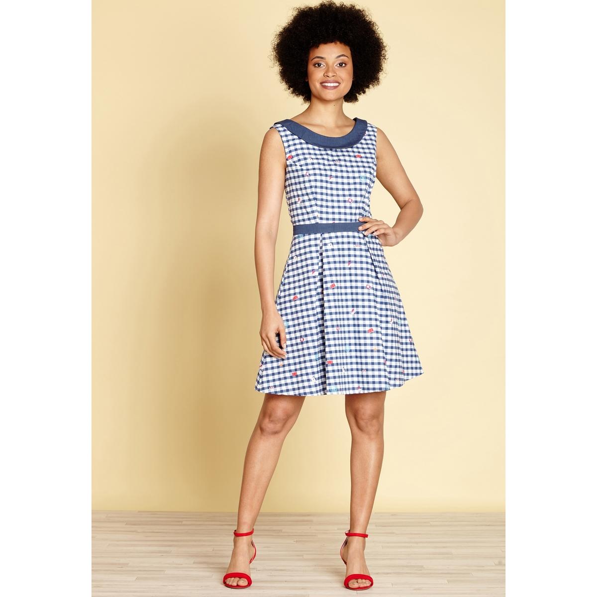 Krótka sukienka rozszerzana, rozkloszowana w kratę