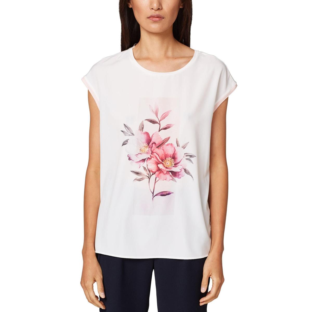 Camiseta de manga corta con motivo de flores y cuello redondo